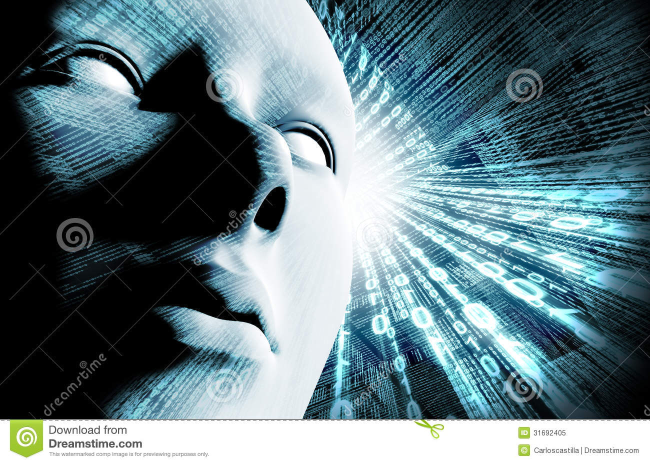 Binary Code And Face Royalty Free Stock Photo Image