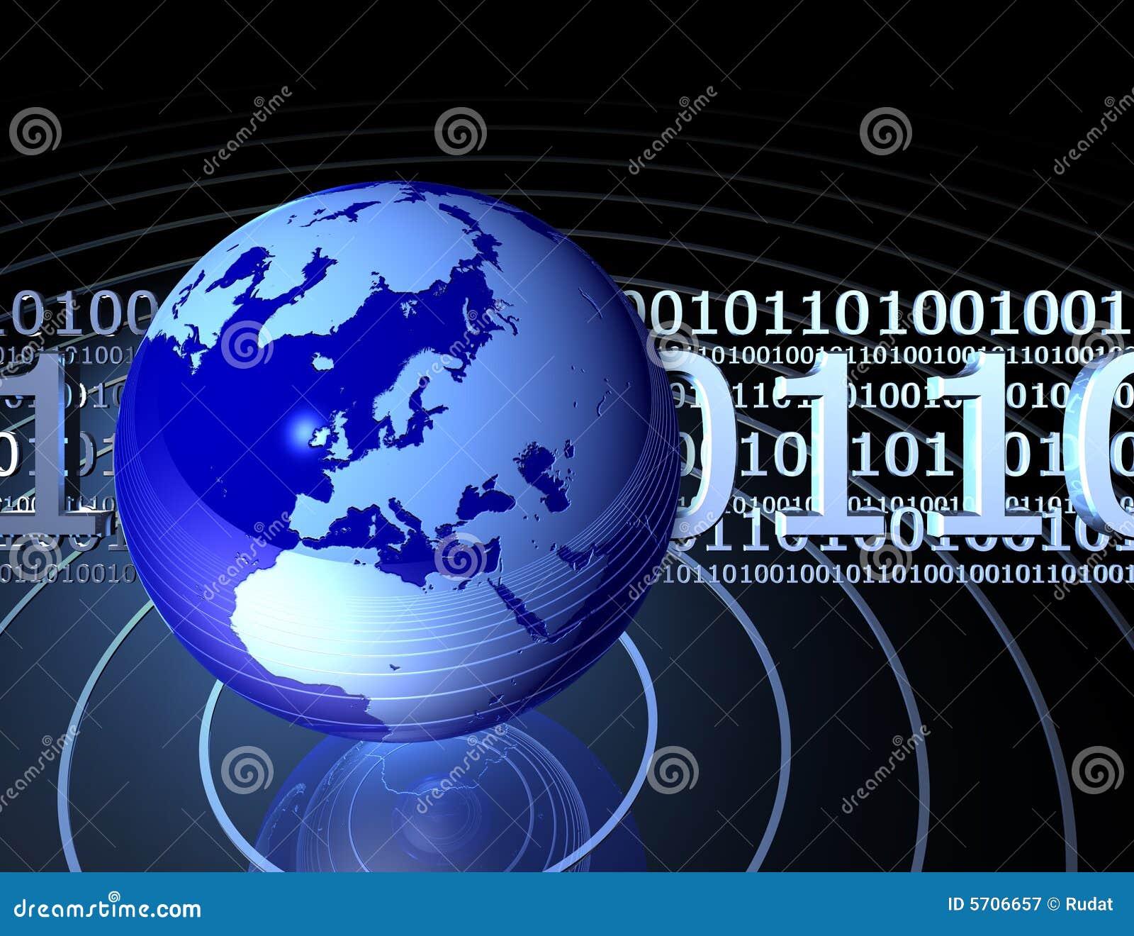 Binary code with globe