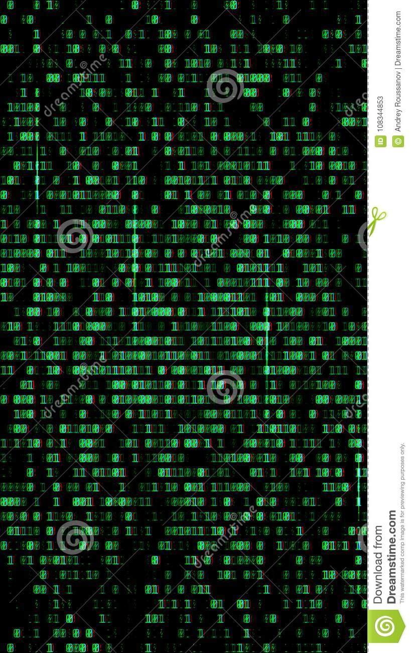 Binary code, green digits on the computer screen. Figures with the effect  of the VHS screen of the 80's and 90's. Retro vintage screen.