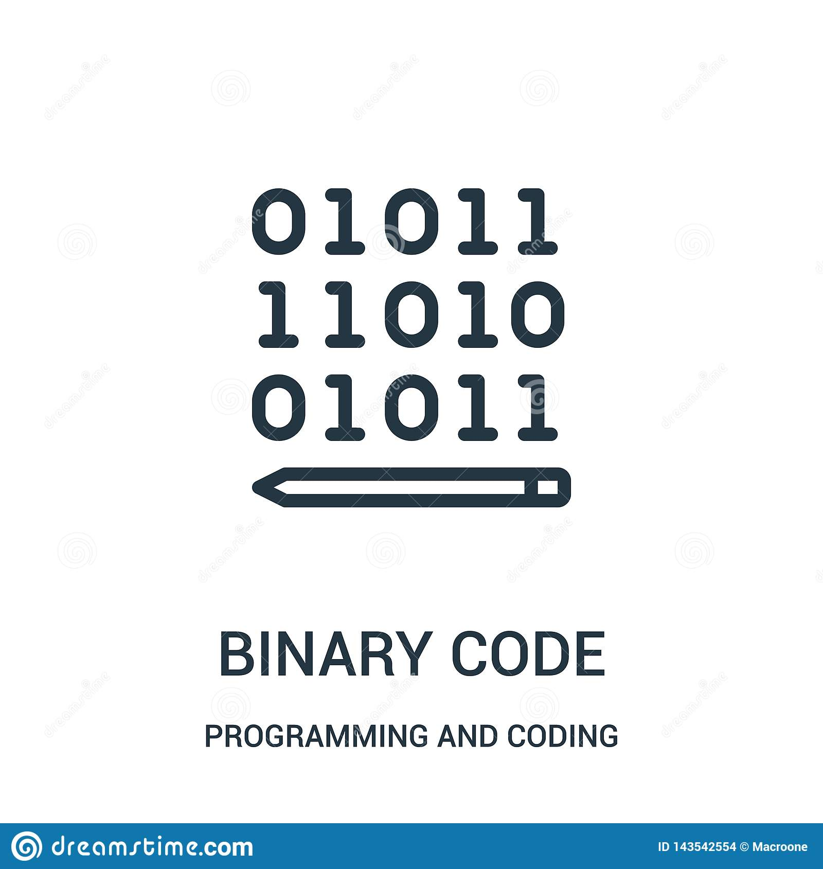 binary code icon vector from programming and coding collection. Thin line binary code outline icon vector illustration
