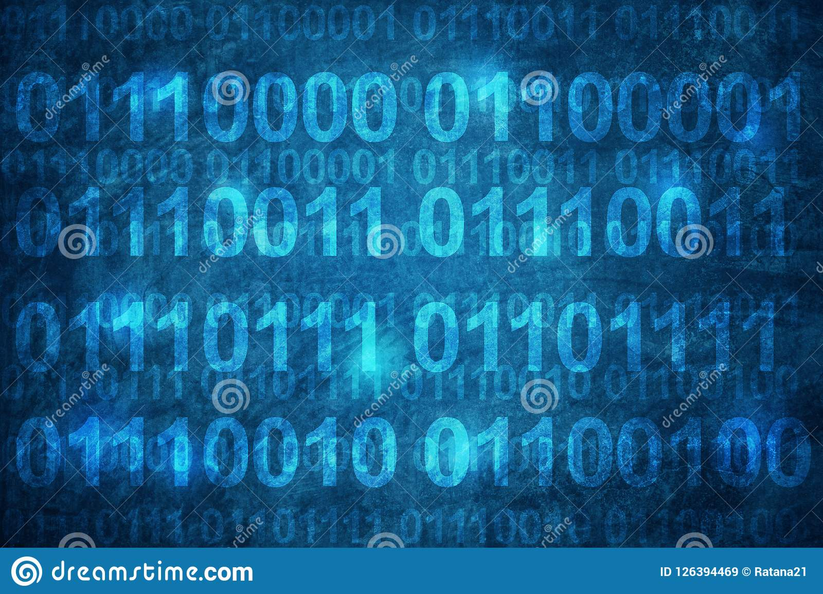 Binary code ,mean password, on grunge blue concrete wall abstract Background