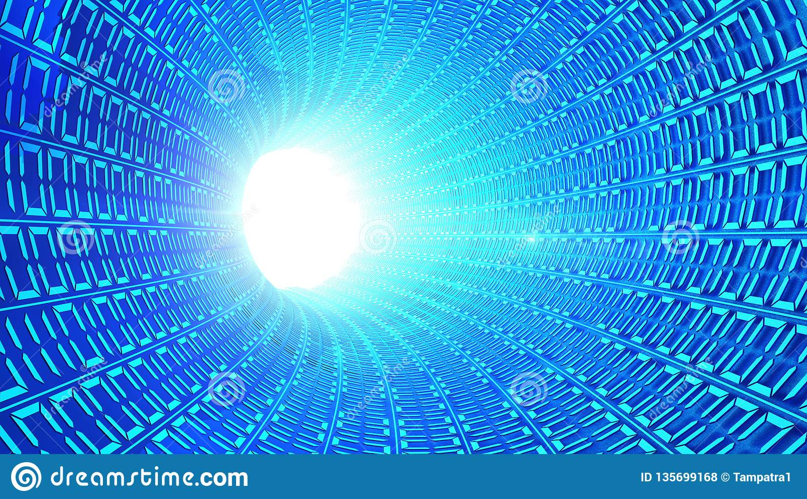 Binary code numbers in blue abstract speed motion in highway tunnel with light flare for futuristic network connection technology