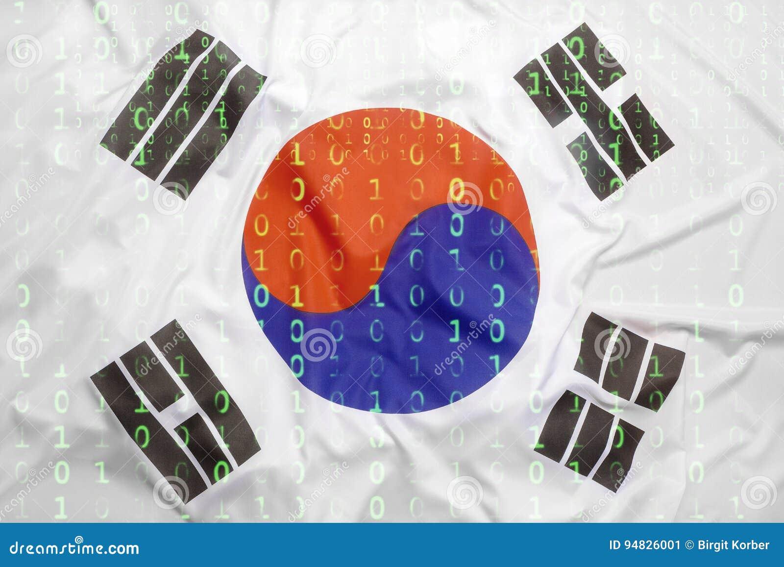 Binary code with South Korea flag, data protection concept