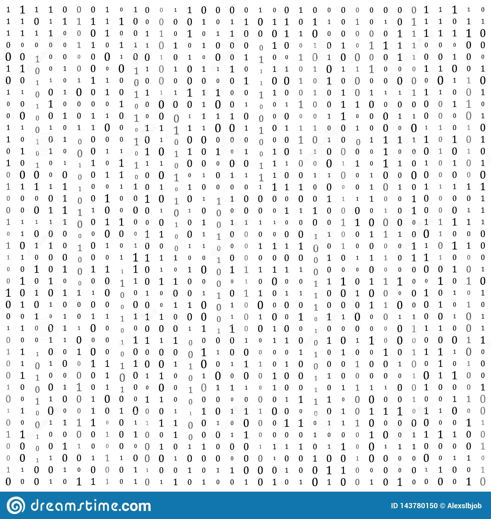 Binary code zero one matrix white background. banner, pattern, wallpaper. Vector illustration