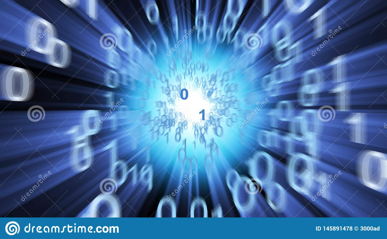 Binary data abstract with a cyberspace tunnel. 3D Illustration abstract background with zeros and ones emanating from a light source at the end of a cyberspace royalty free stock photos