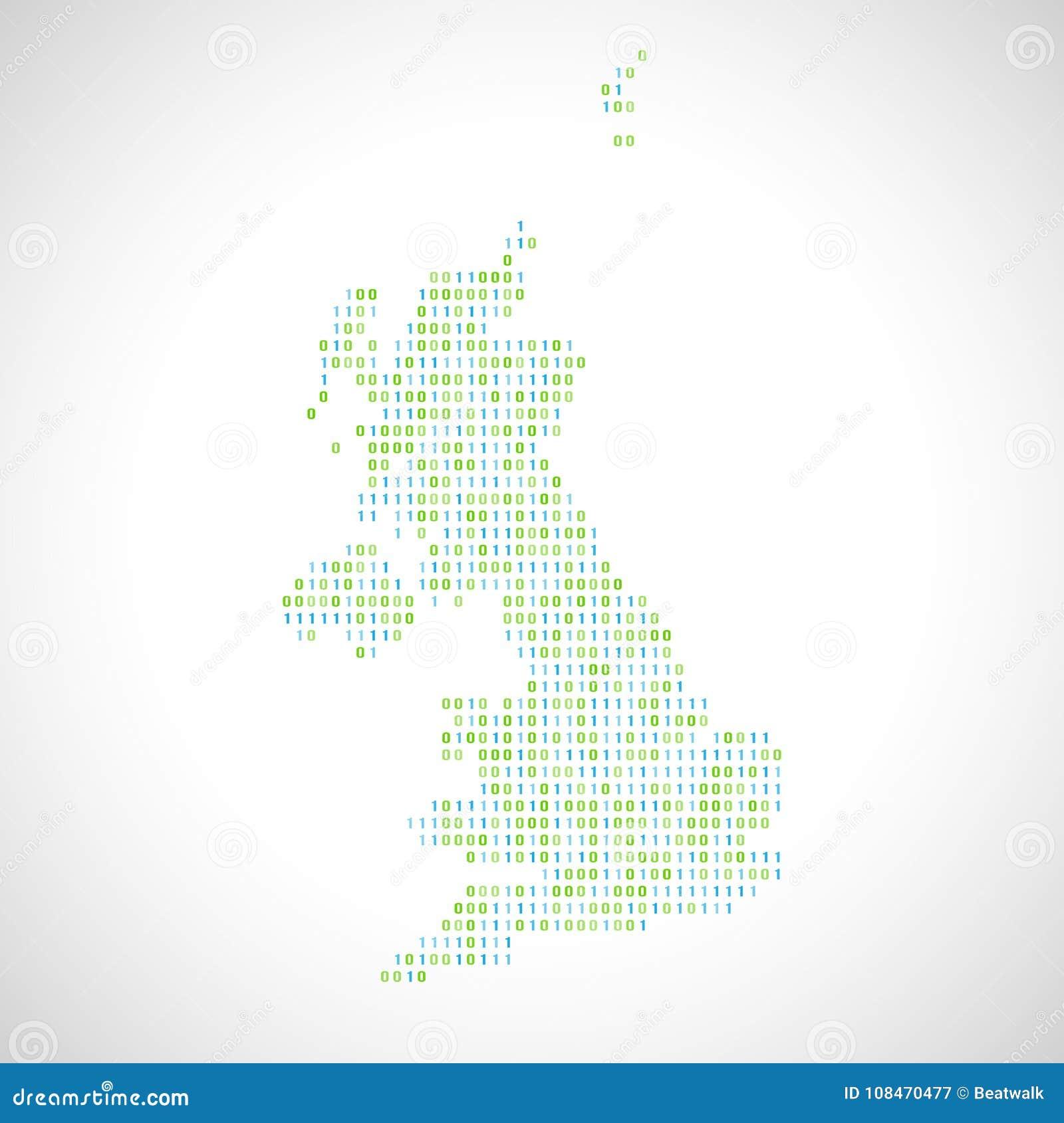 Binary Digital Map Of United Kingdom Stock Vector - Illustration of on