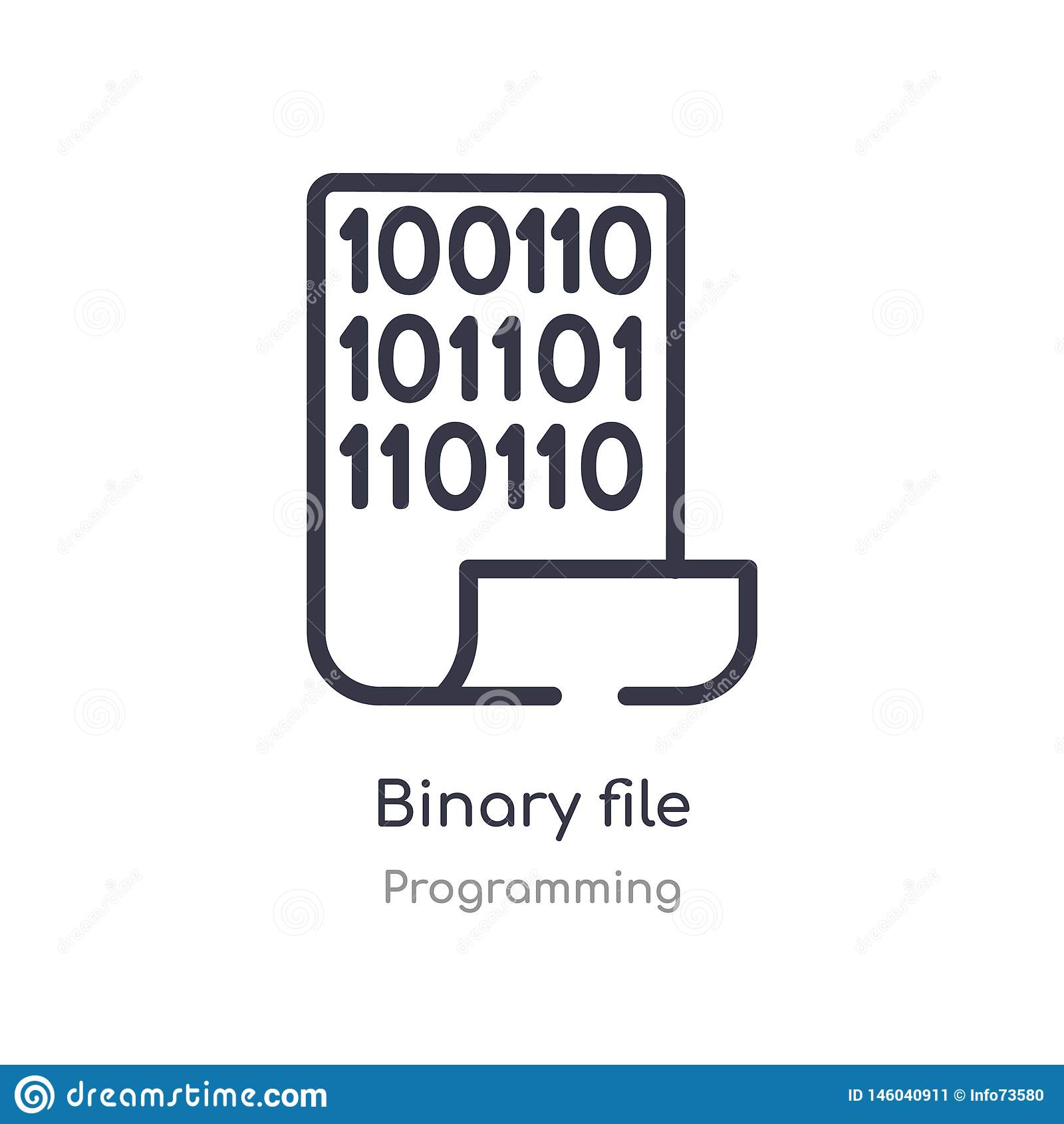 binary file outline icon. isolated line vector illustration from programming collection. editable thin stroke binary file icon on