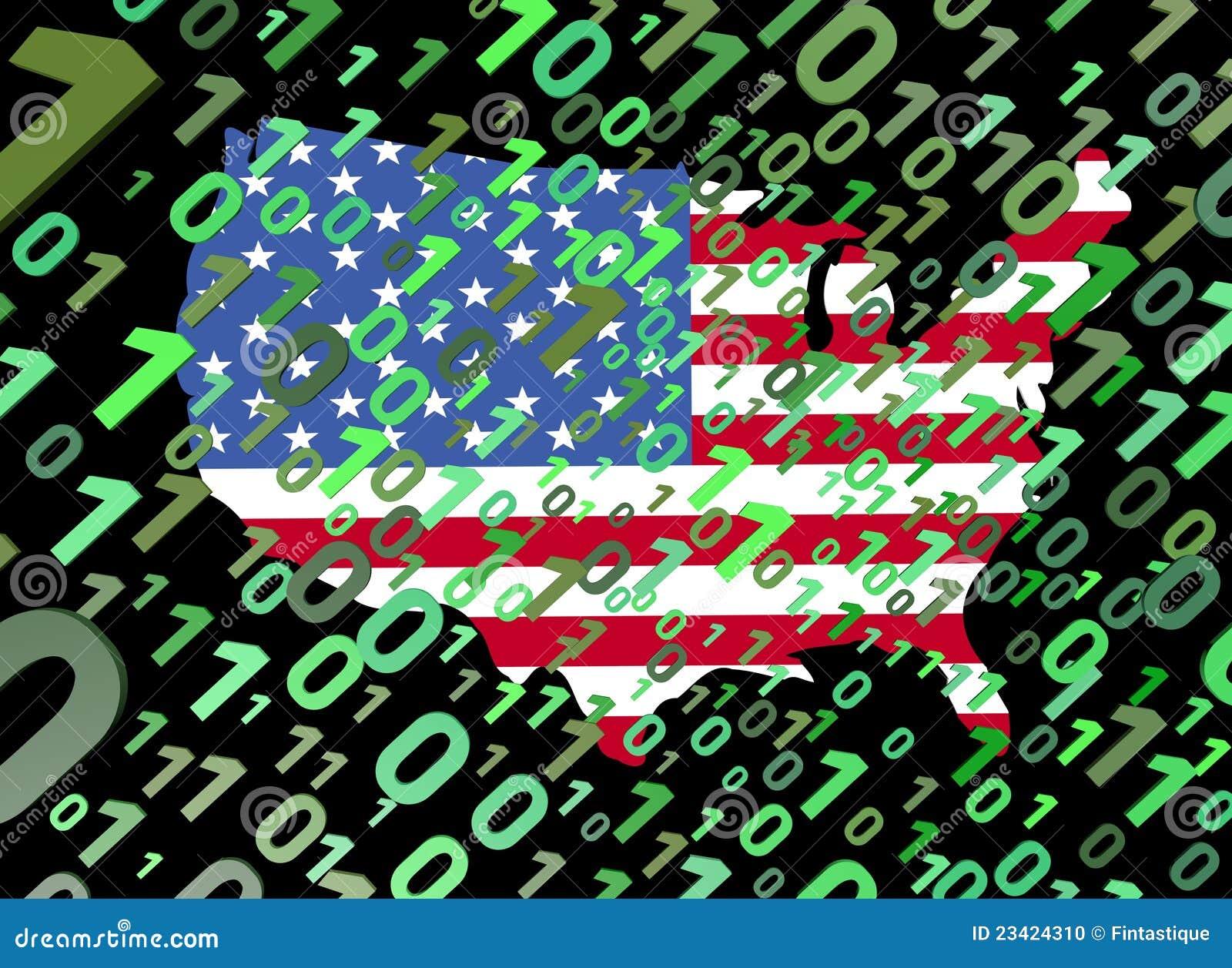 Binary flaga mapa usa