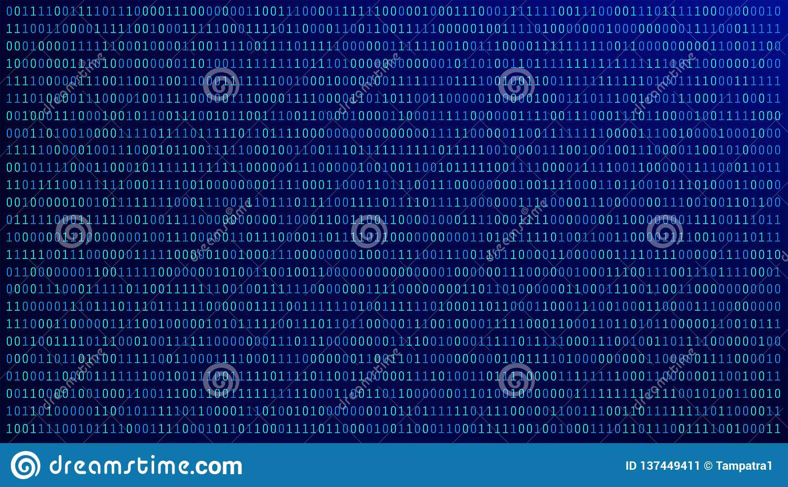 01 or binary numbers on the computer screen on blue monitor background metrix, Digital data code in hacker or security technology
