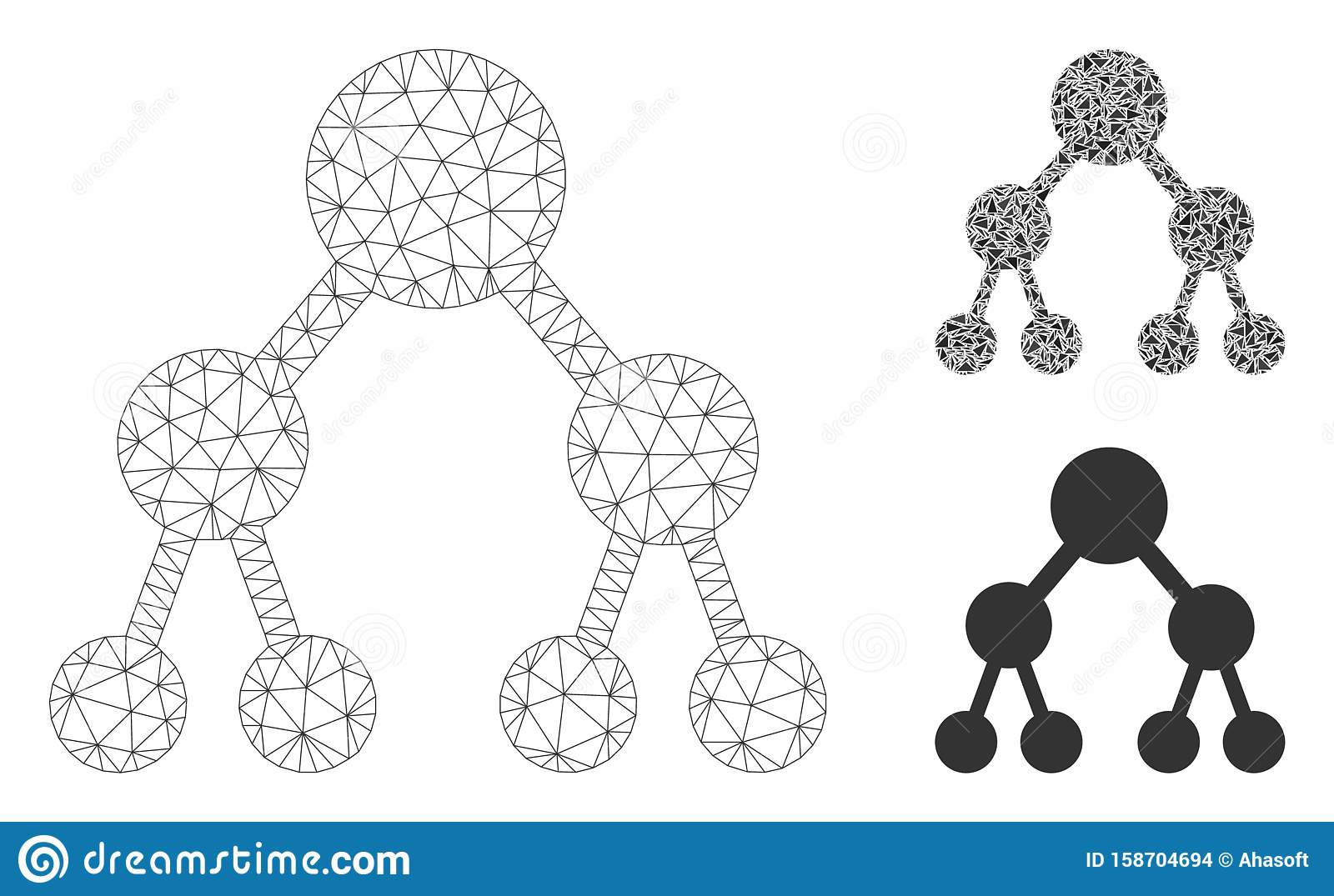 Binary Tree Vector Mesh Wire Frame Model and Triangle Mosaic Icon
