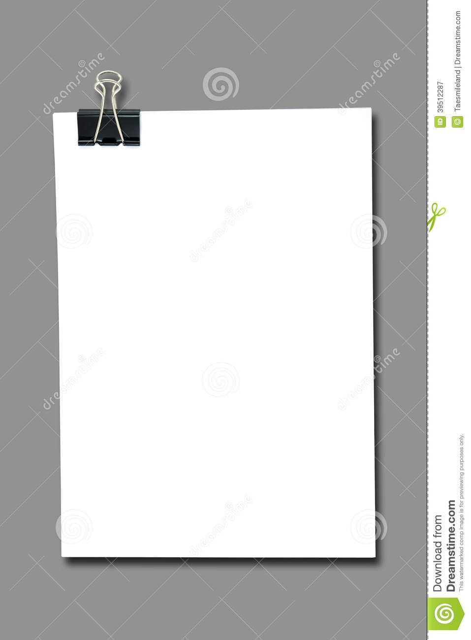 Binder clip and stack of paper