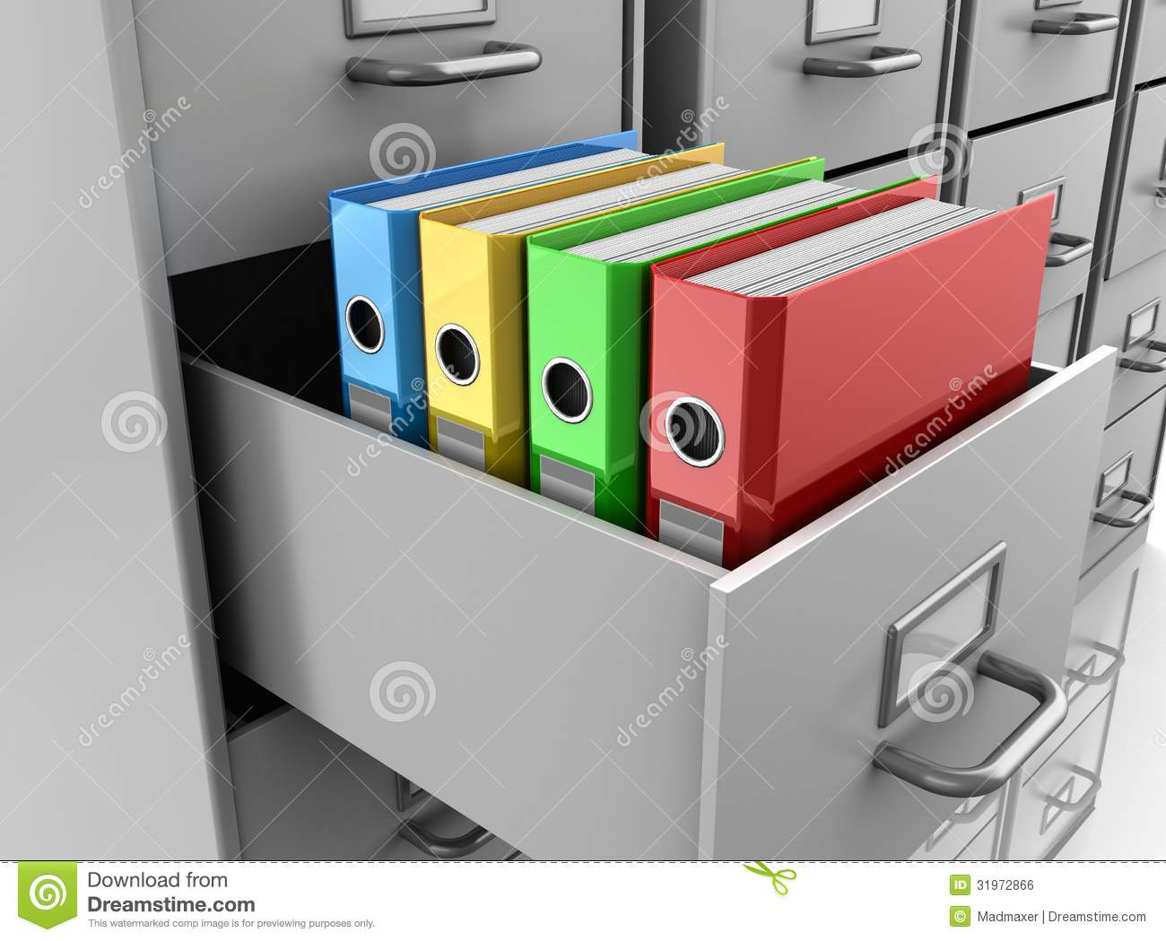 Binder Folders In Filing Cabinet Royalty Free Stock Image - Image ...