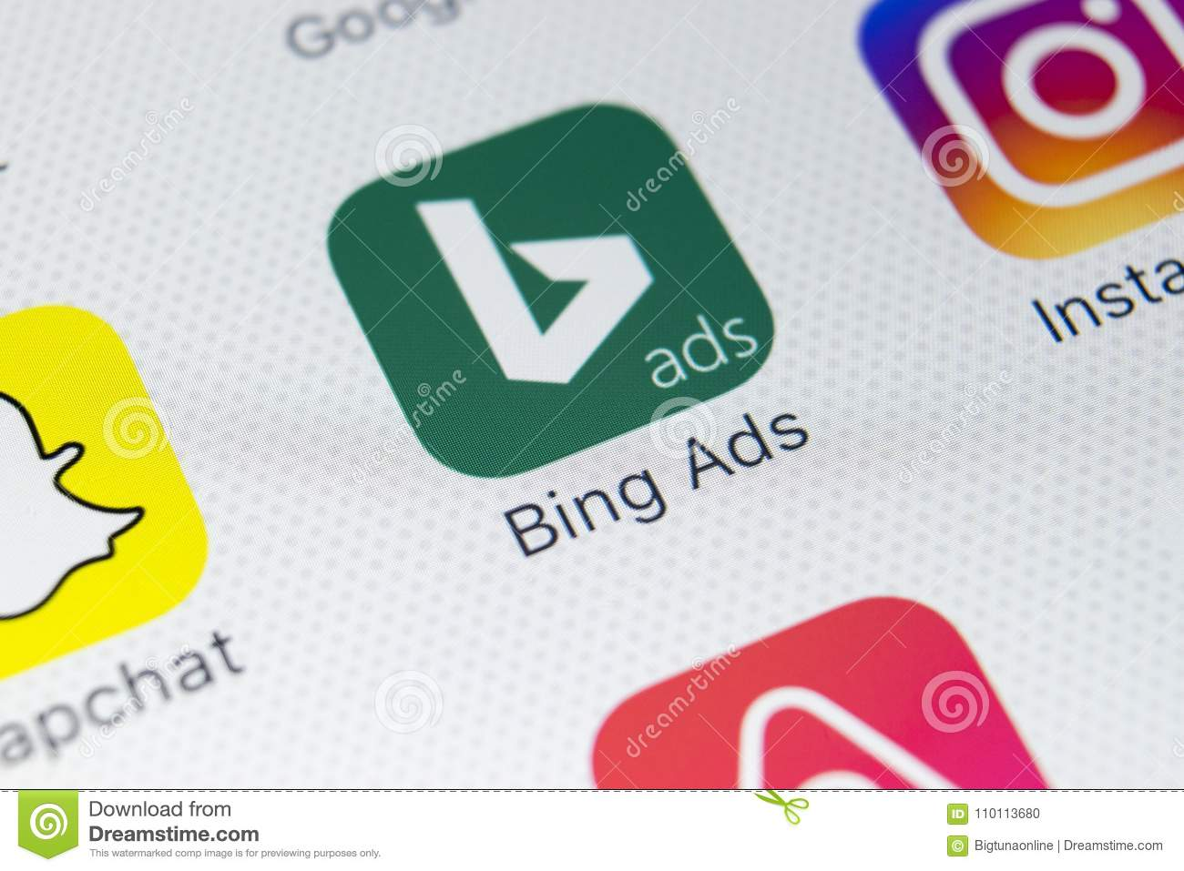 Bing application icon on Apple iPhone X screen close-up. Bing ads app icon. Bing ads is online advertising application. Social