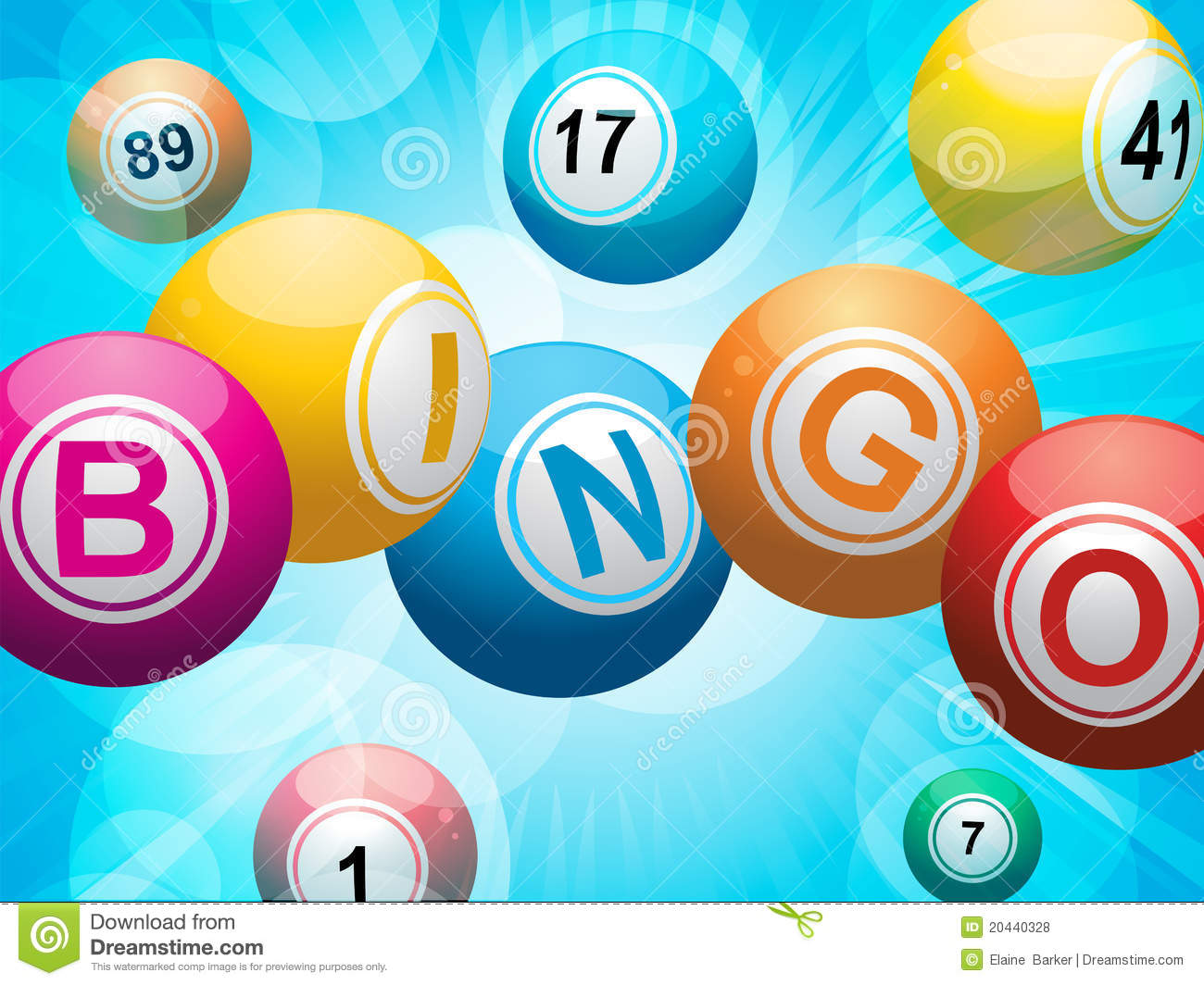Bingo balls spelling the word 'bingo' on a glowing blue background.