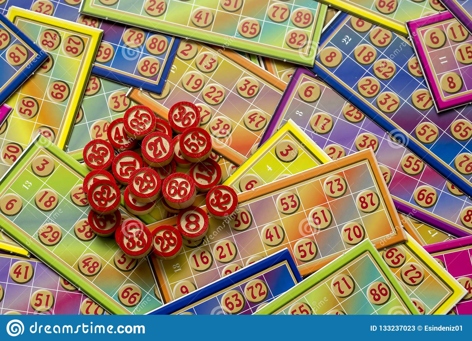 Bingo Cards Tombola / Lotto And With Numbers Isolated Stock Image