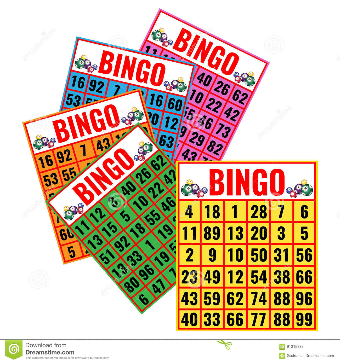 Bingo Colorful Cards Vector Illustration Isolated On White