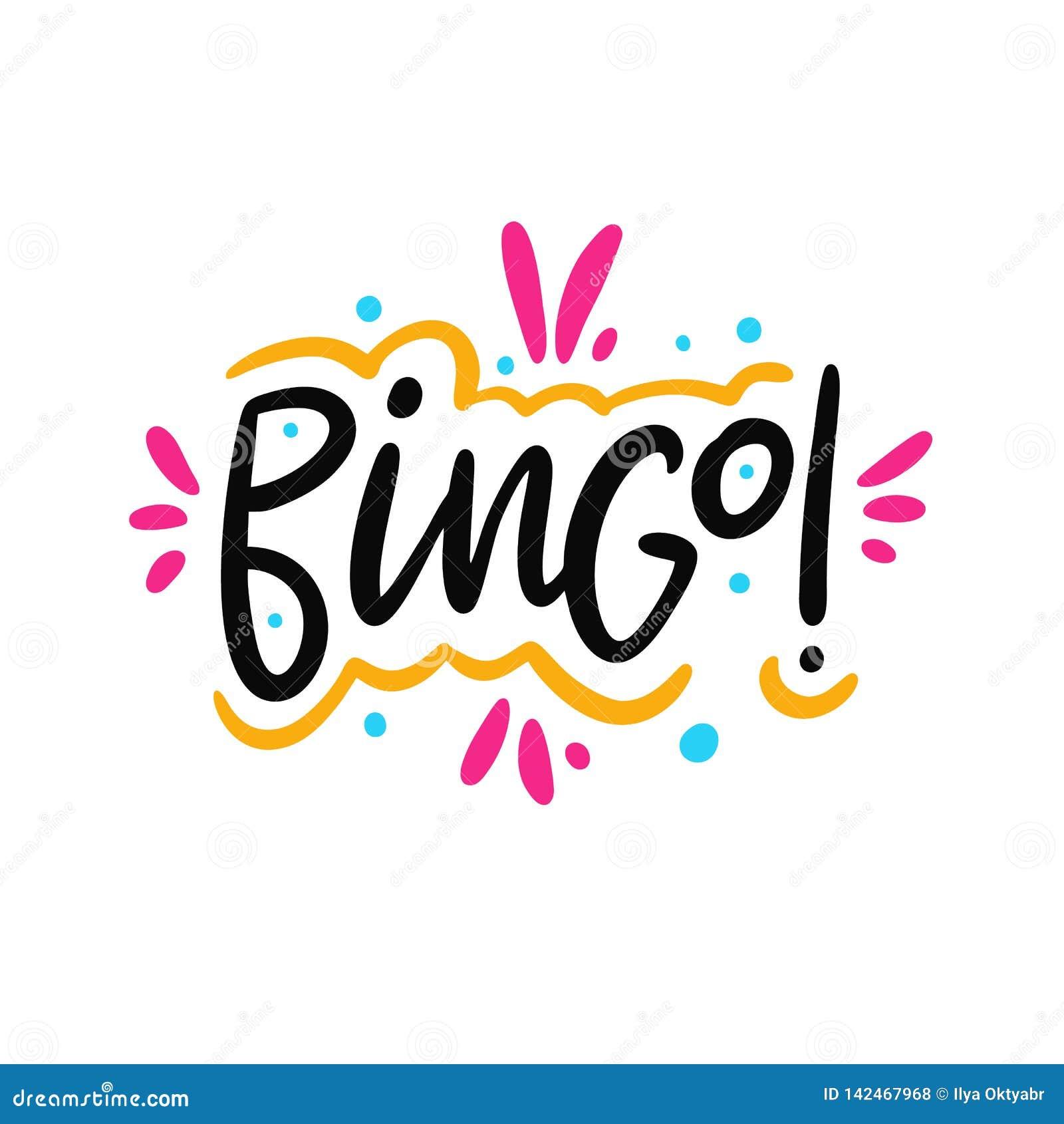 Bingo! Handgezogene Vektor-Beschriftungsphrase Moderne Typografie Getrennt auf weißem Hintergrund