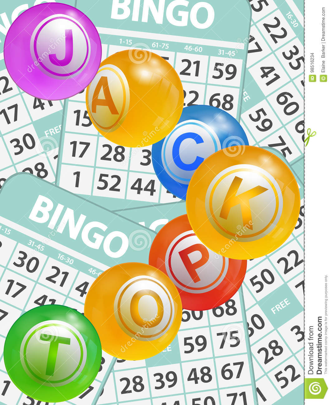 Bingo Jackpot Balls Over Cards Background Stock