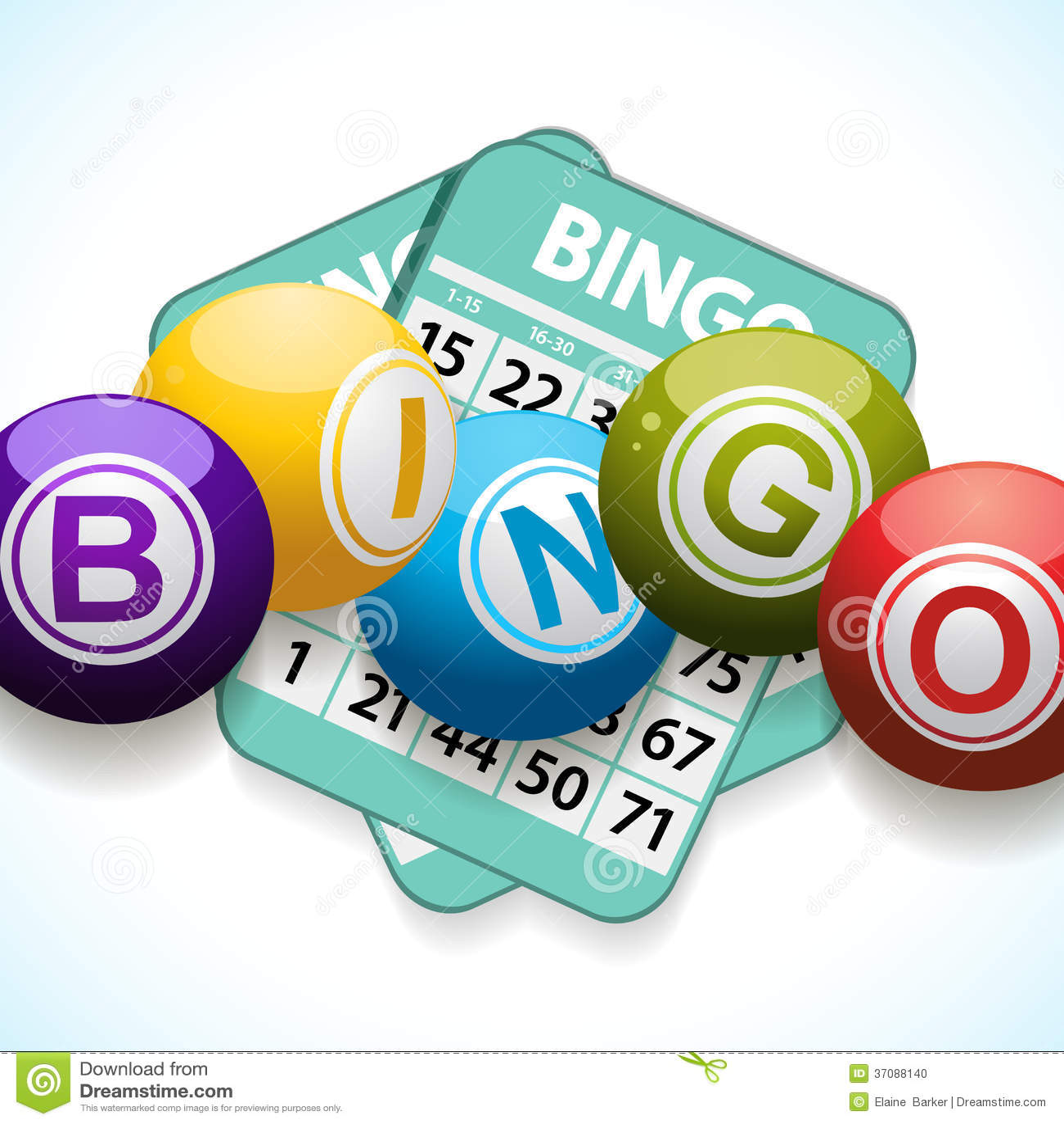 Bingo karta na białym tle i piłki