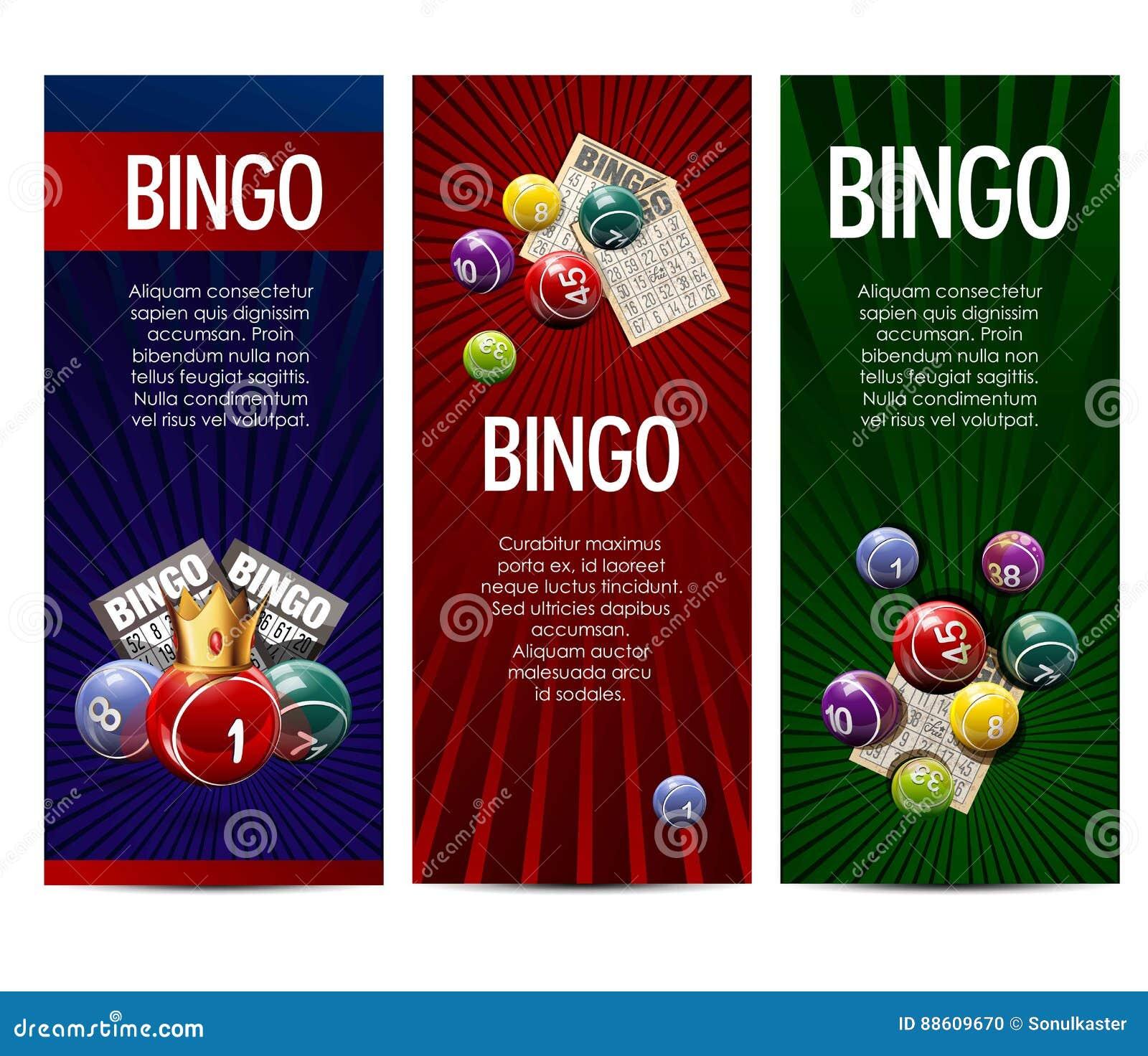 Bingo lottery lotto game vector banners set