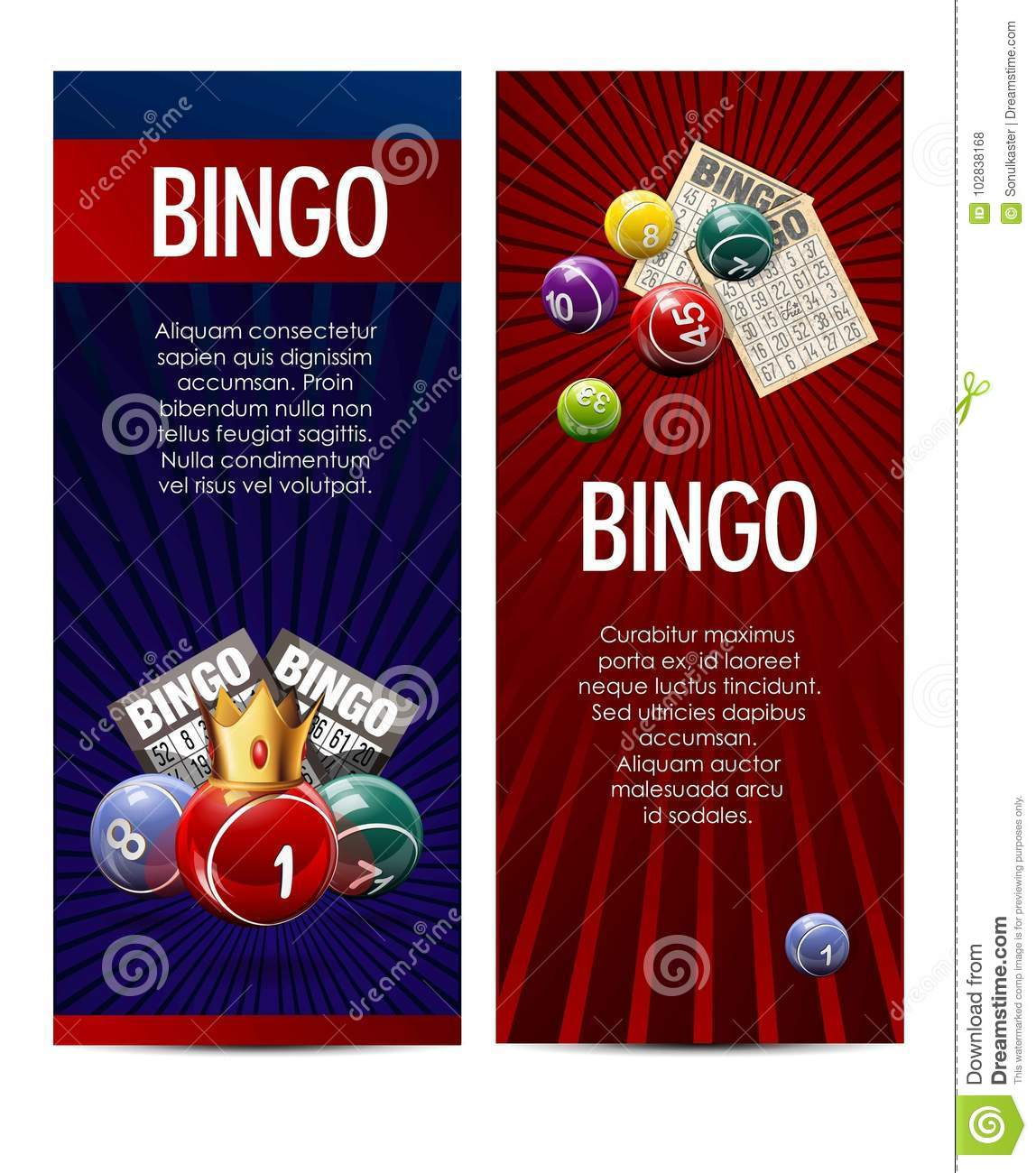 Bingo Lotto Lottery Banners Template  Stock Vector - Illustration of
