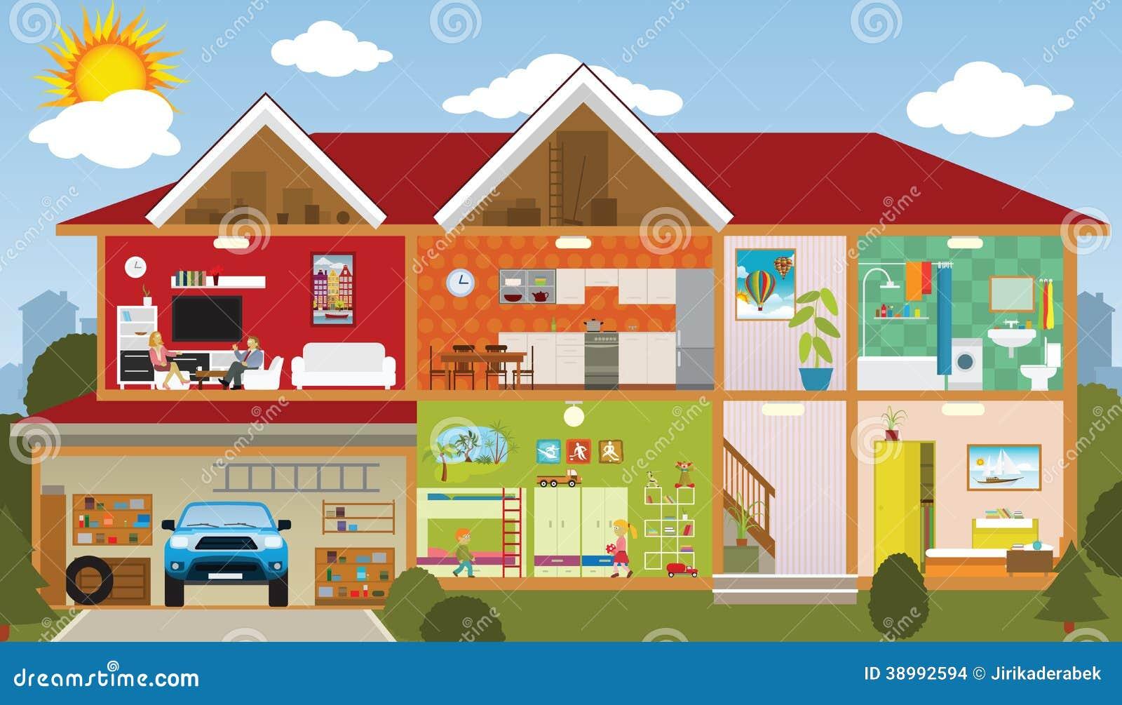 Binnen het huis vector illustratie afbeelding 38992594 - Versier het huis ...