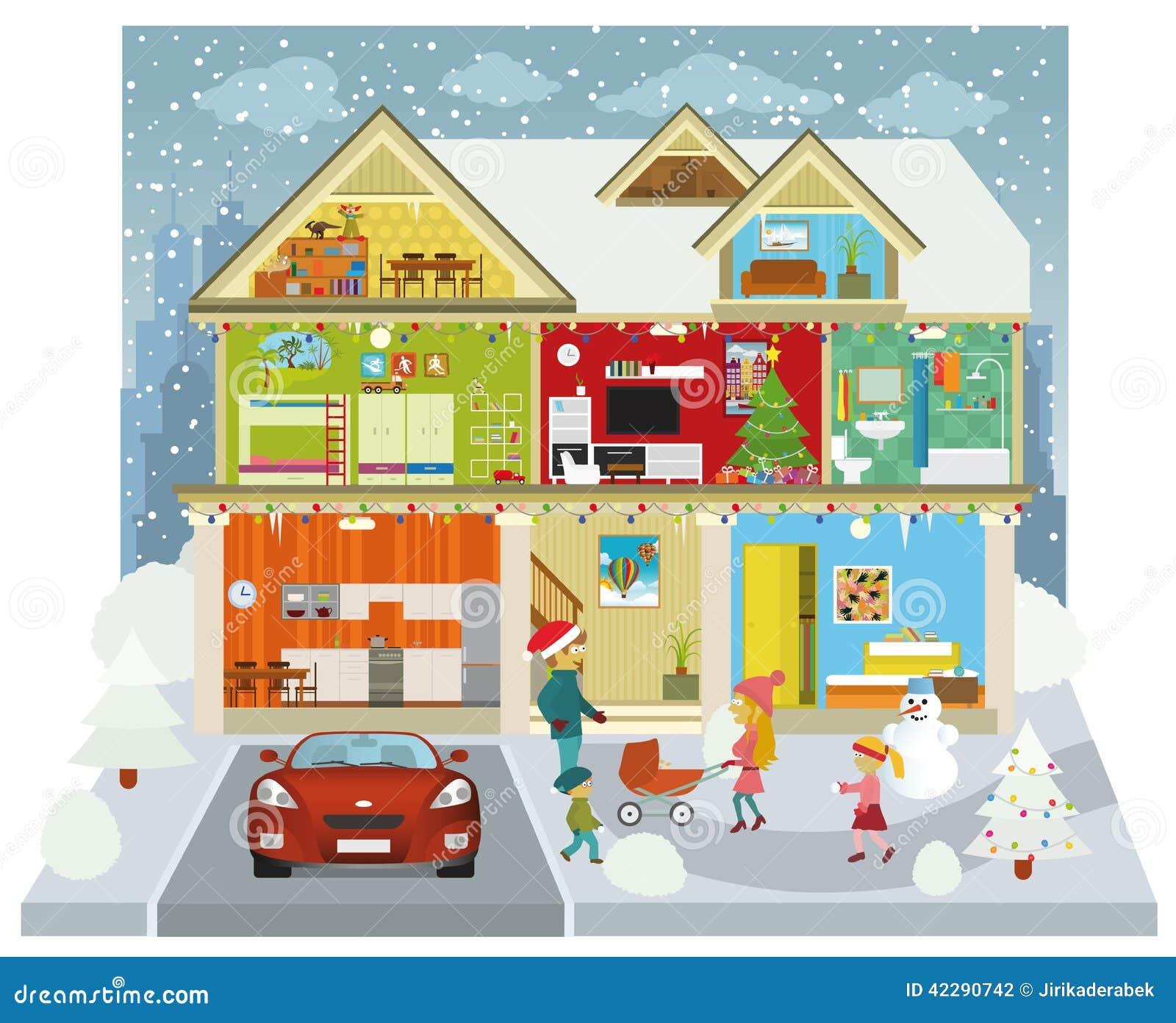 Binnen het huis de winter vector illustratie afbeelding 42290742 - Versier het huis ...