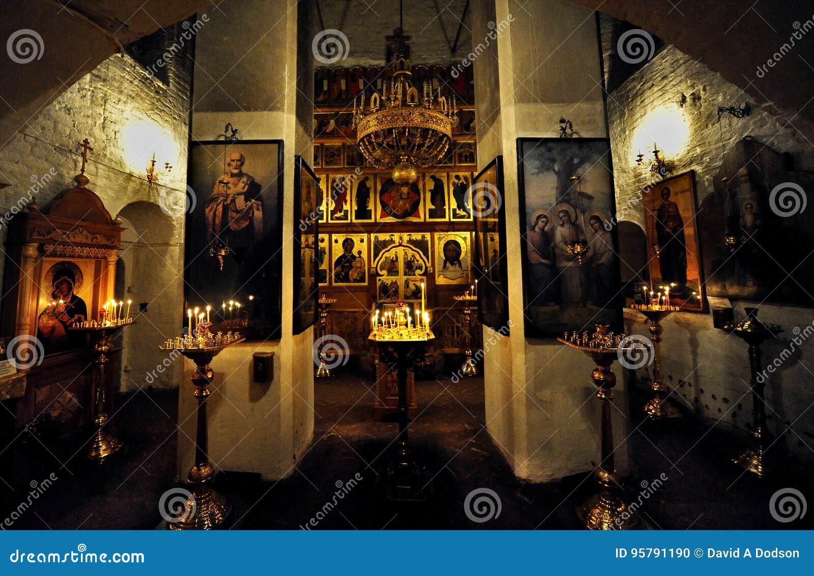 Binnenheiligdom van een Russische Orthodoxe Kapel, Moskou