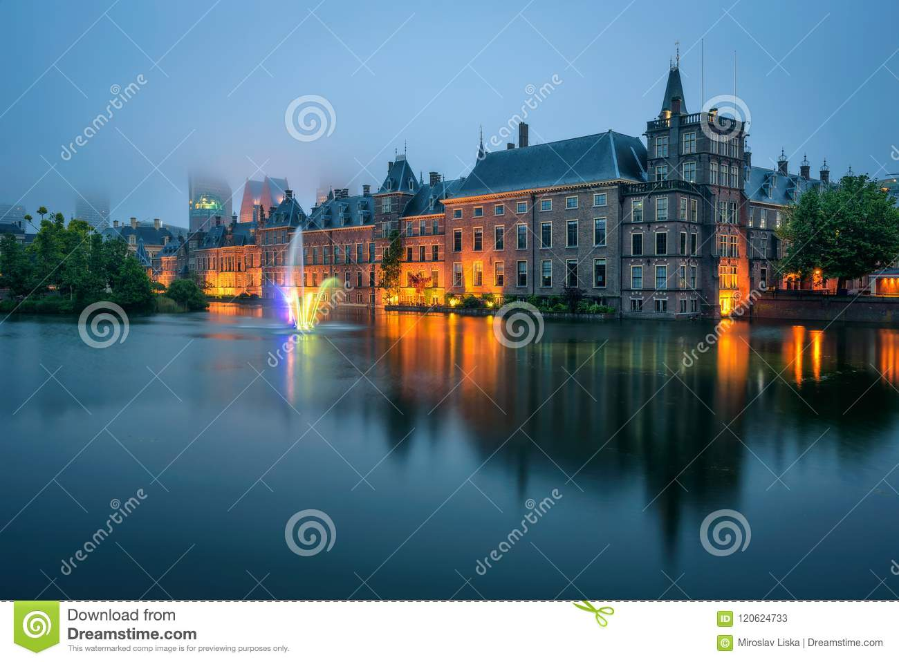 Download The Binnenhof Palace In A Foggy Evening In Hague, Netherlands Stock Image - Image of government, office: 120624733