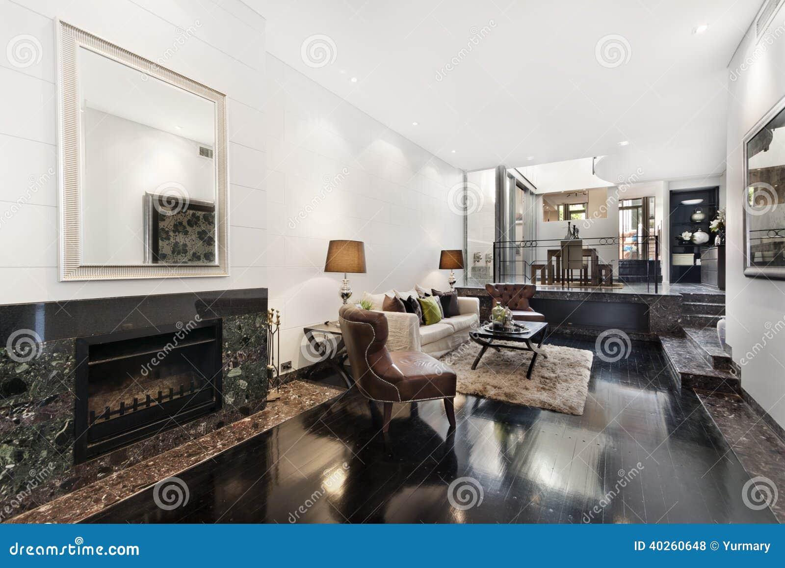 Binnenhuisarchitectuur van een woonkamer stock foto for Moderne binnenhuisarchitectuur