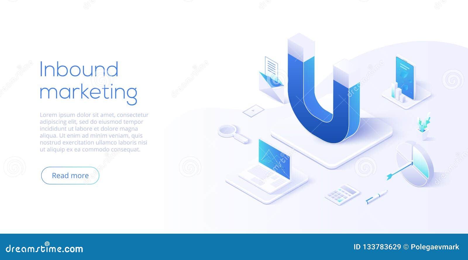 Binnenkomende marketing vector bedrijfsillustratie in isometrische desi