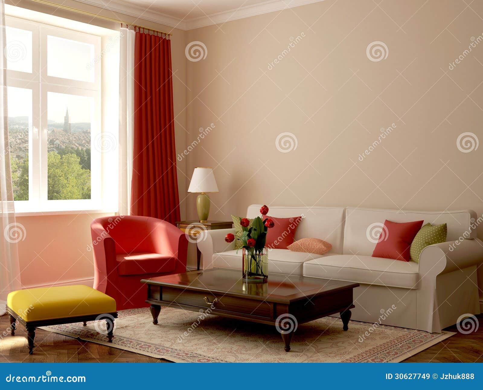 Binnenland in eclectische stijl royalty vrije stock - Pintura para paredes colores ...