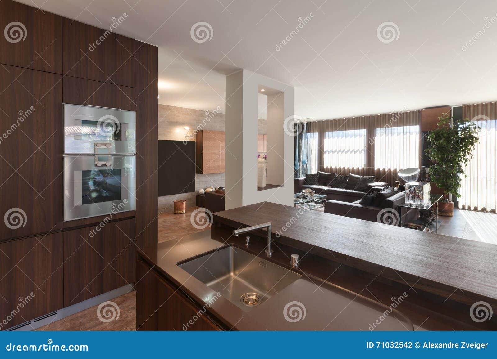Binnenland, Houten Keuken Modern Ontwerp Stock Foto - Afbeelding ...