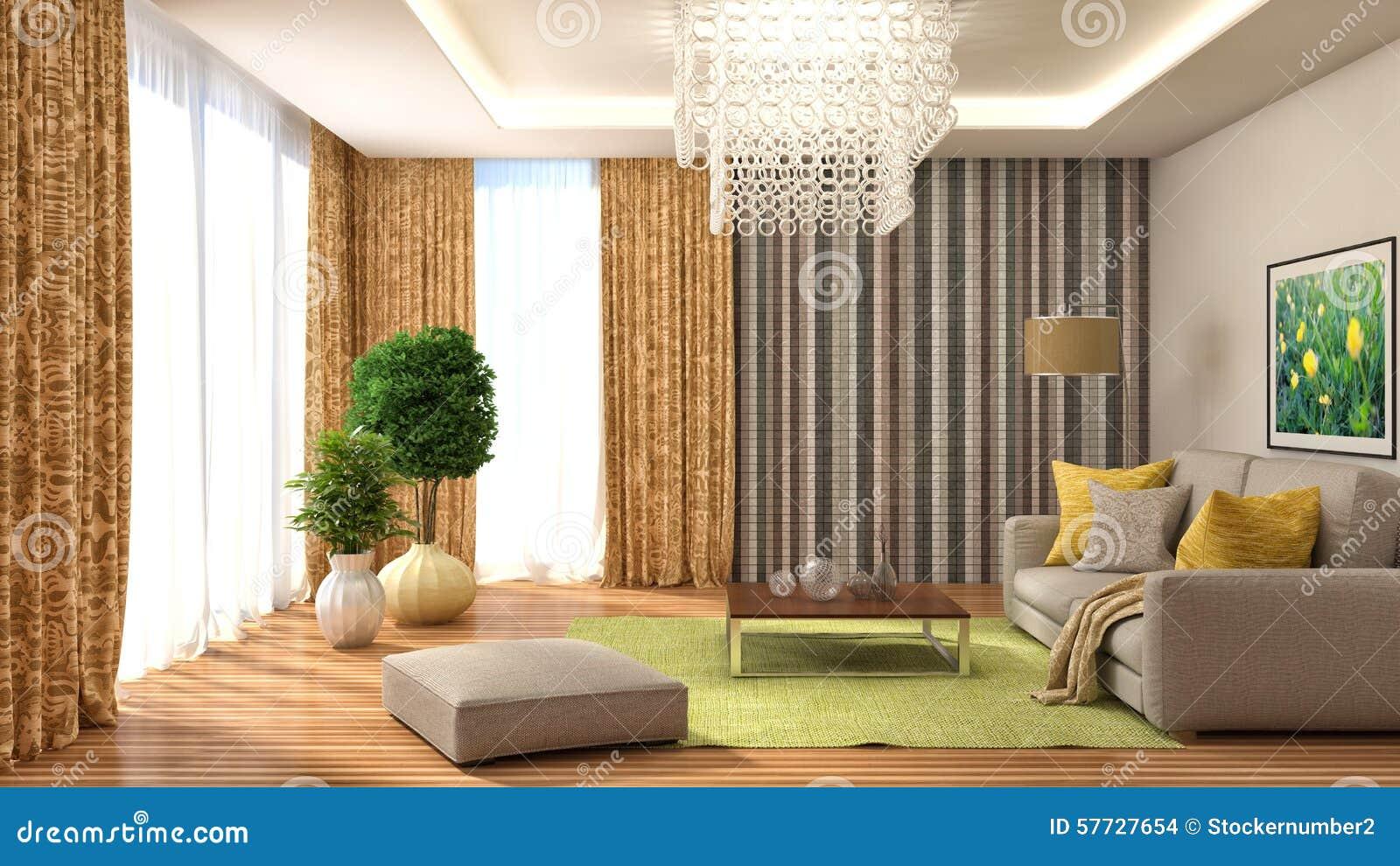 binnenland met bank en gele gordijnen 3d illustratie
