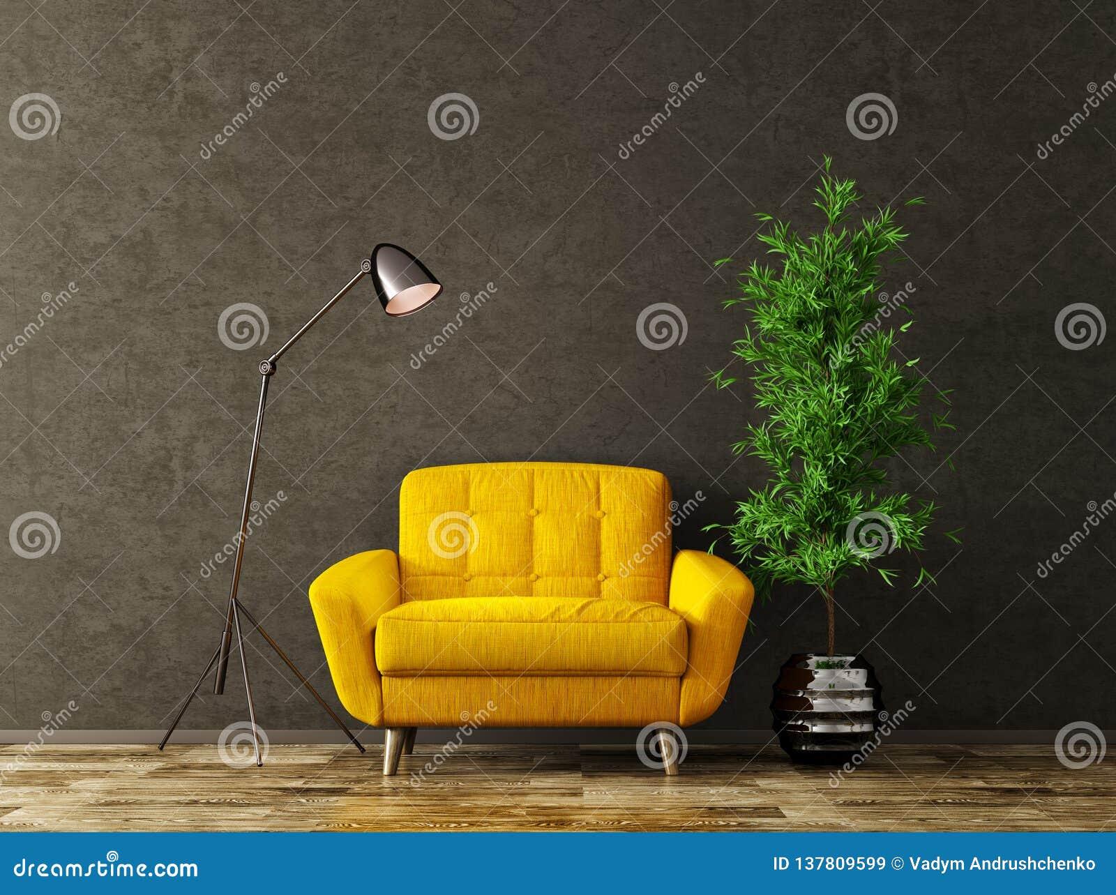 Binnenland met het gele leunstoel 3d teruggeven