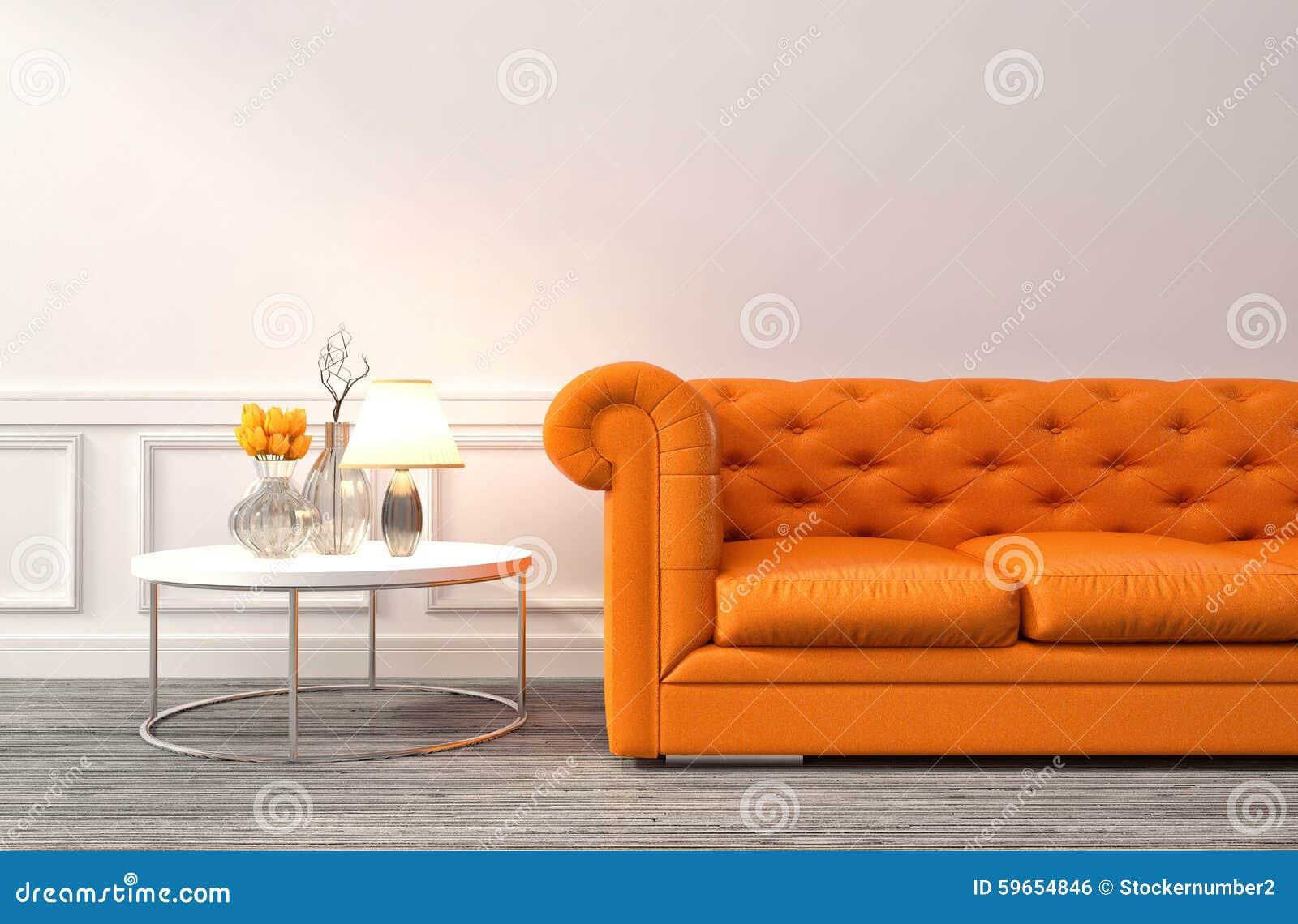 Binnenland met oranje bank 3d illustratie stock illustratie ...