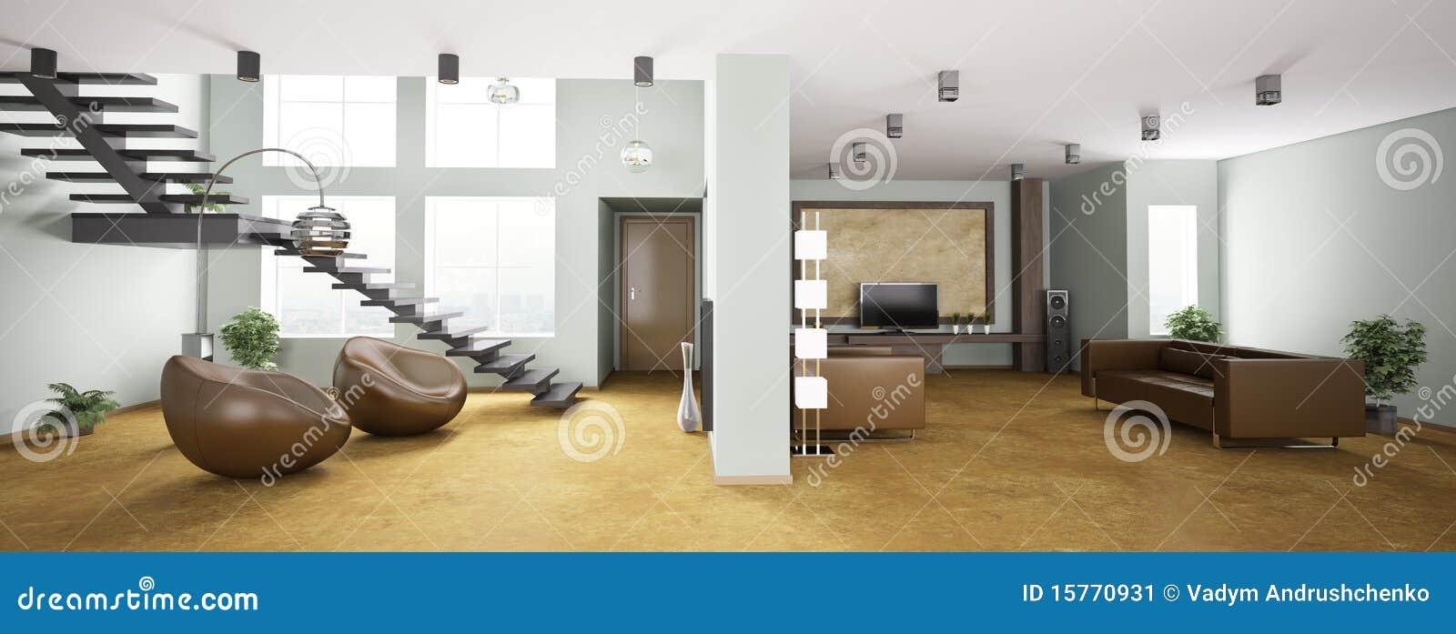 Binnenland van 3d flatpanorama