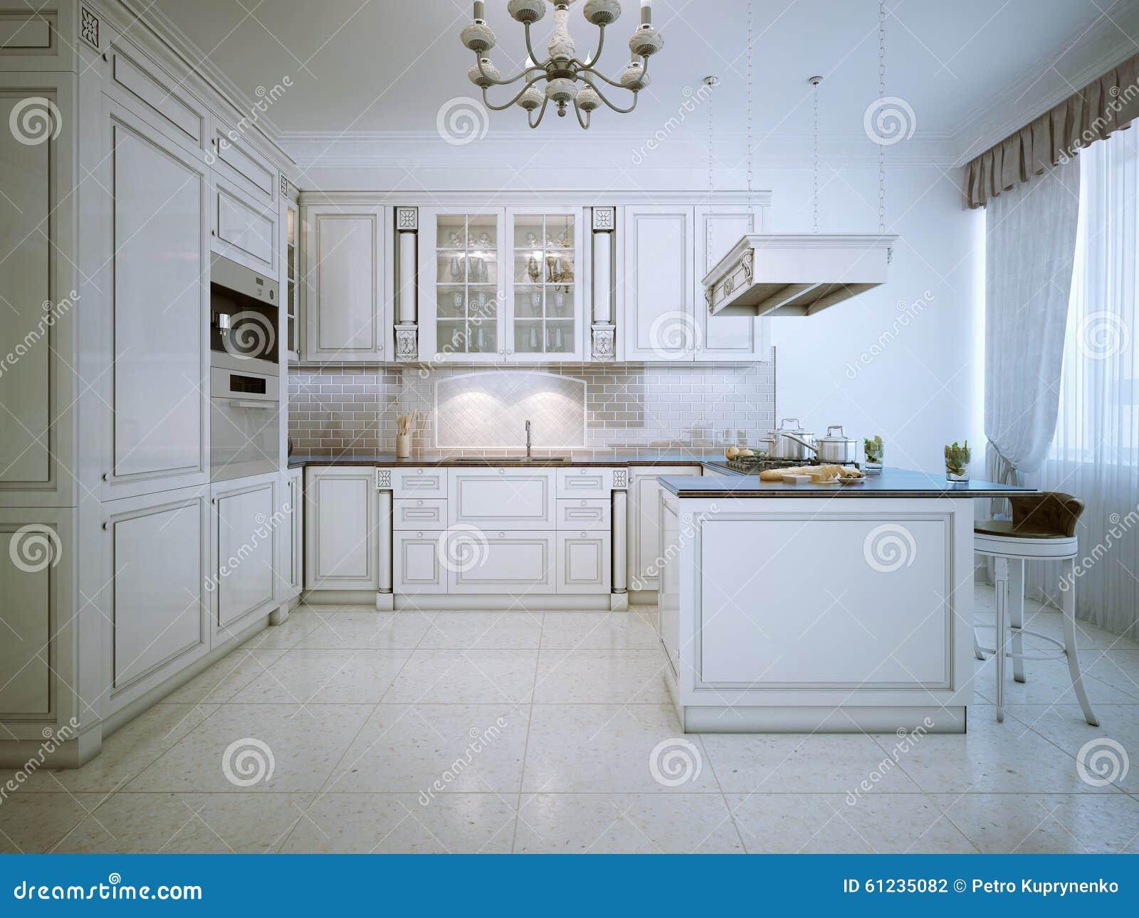 Binnenland van de art deco het witte keuken stock illustratie