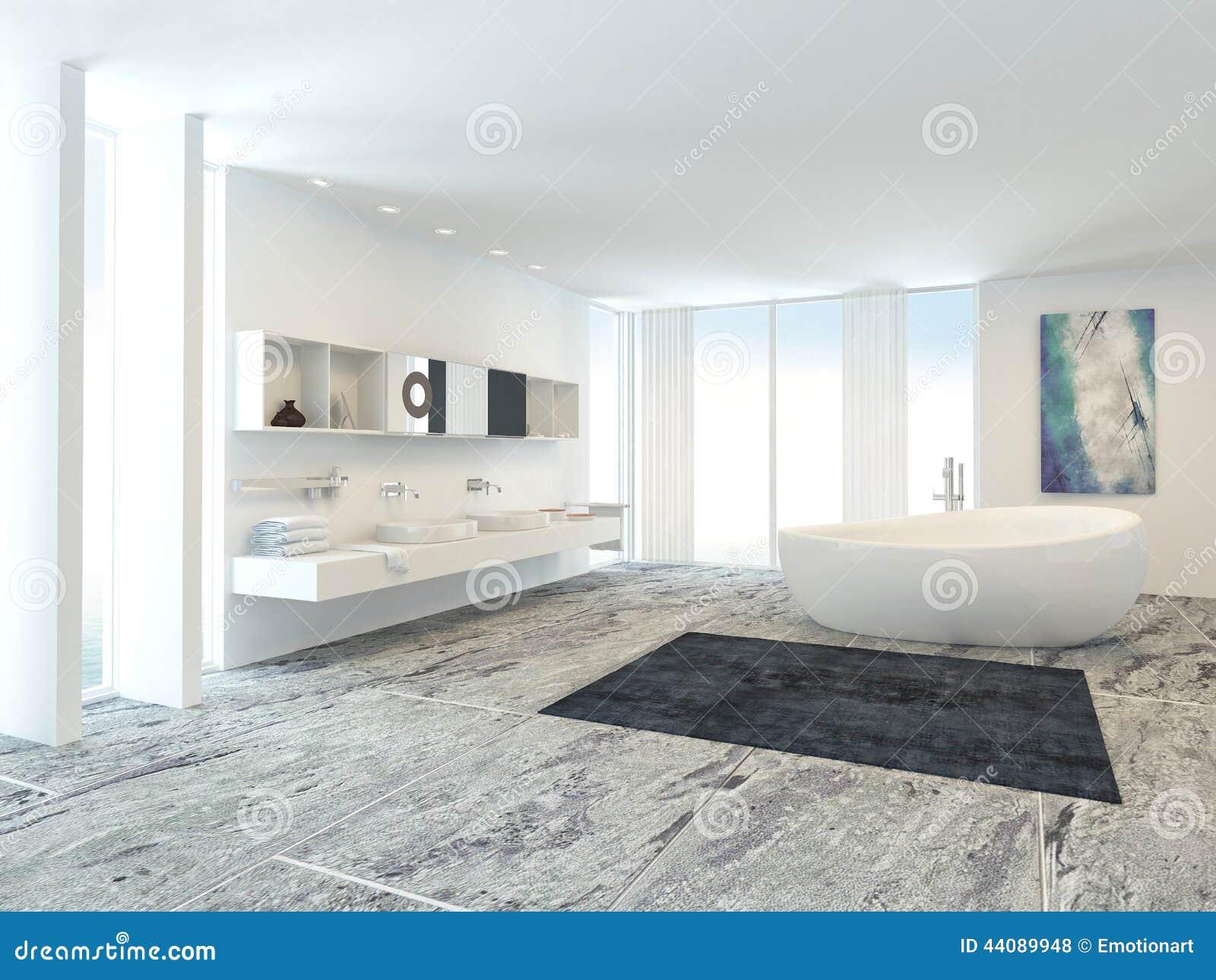 Binnenland van de badkamers van de luxe het moderne stock illustratie beeld 44089948 - Moderne betegelde vloer ...