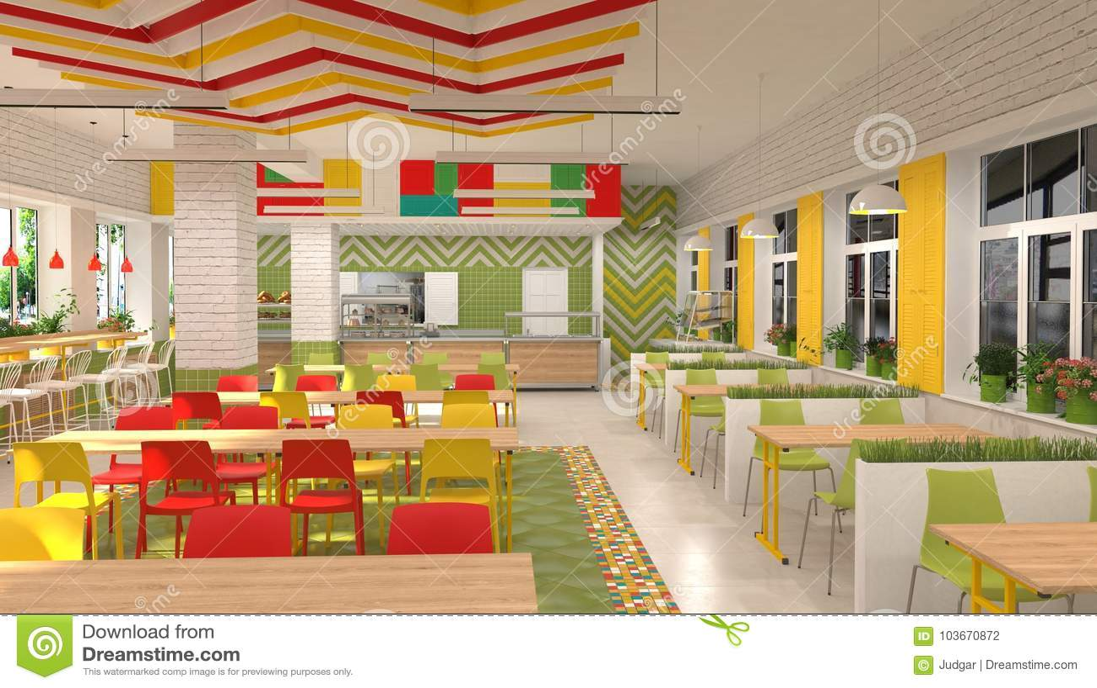 Binnenland van de kantine van schoolkinderen ` s d visualisatie