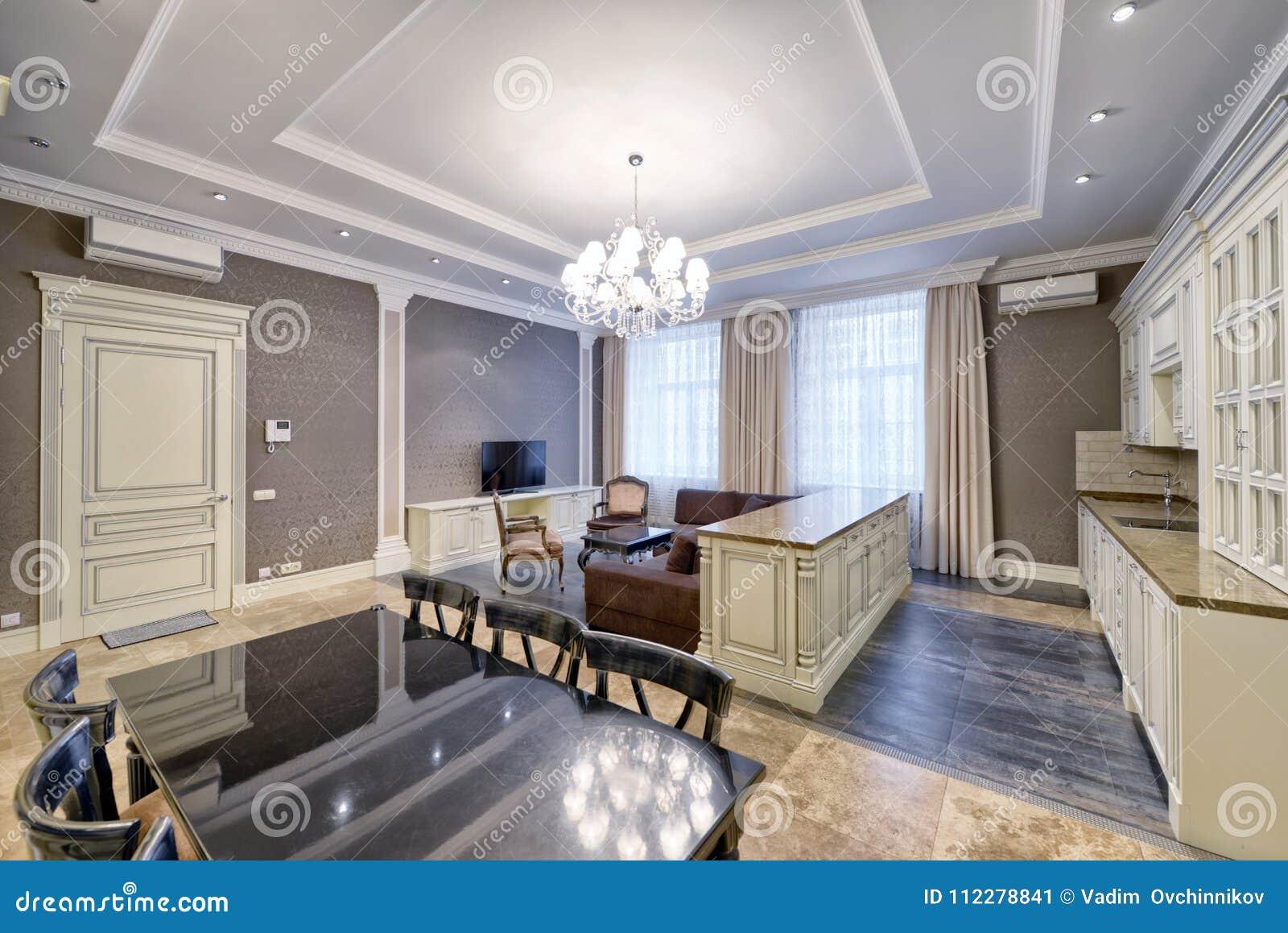 Binnenland Van De Keuken - Woonkamer In Een Modern Huis Stock ...