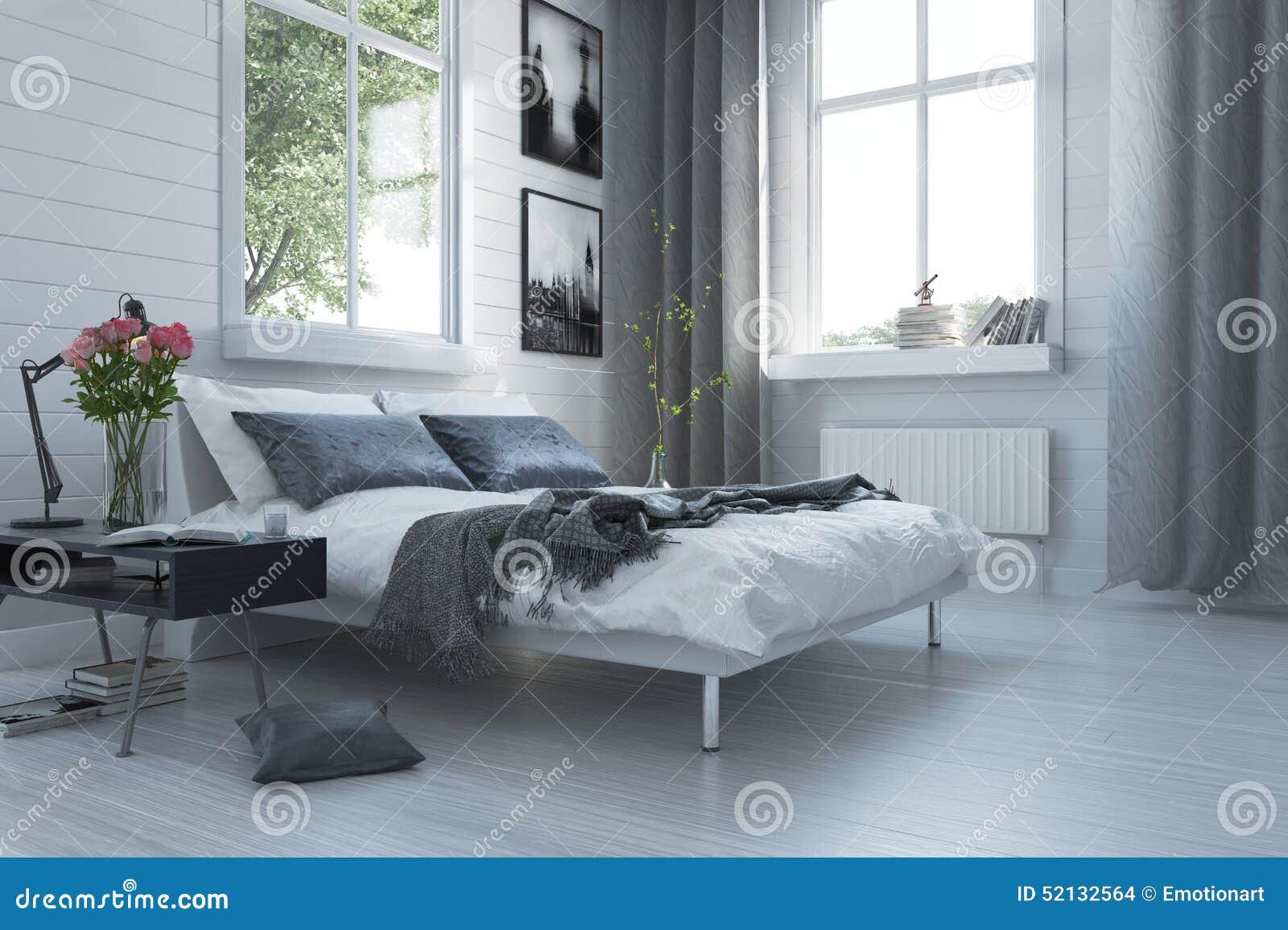 binnenland van de luxe het grijze en witte moderne slaapkamer