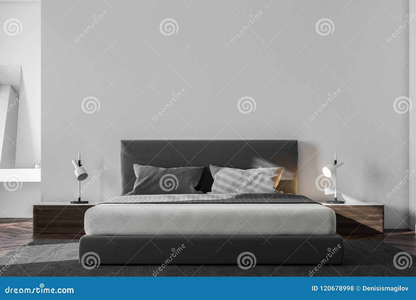 Binnenland van de luxe het witte Skandinavische slaapkamer