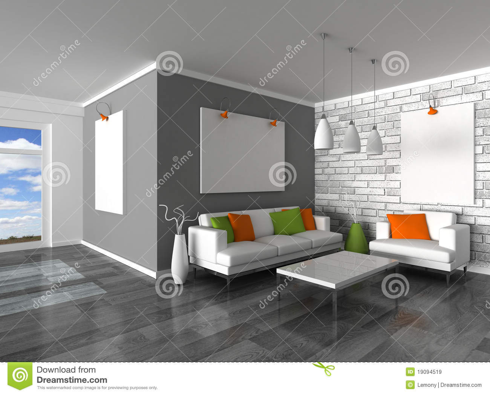 Binnenland van de moderne ruimte de grijze muur en wit s royalty vrije stock afbeeldingen for Grijze muur