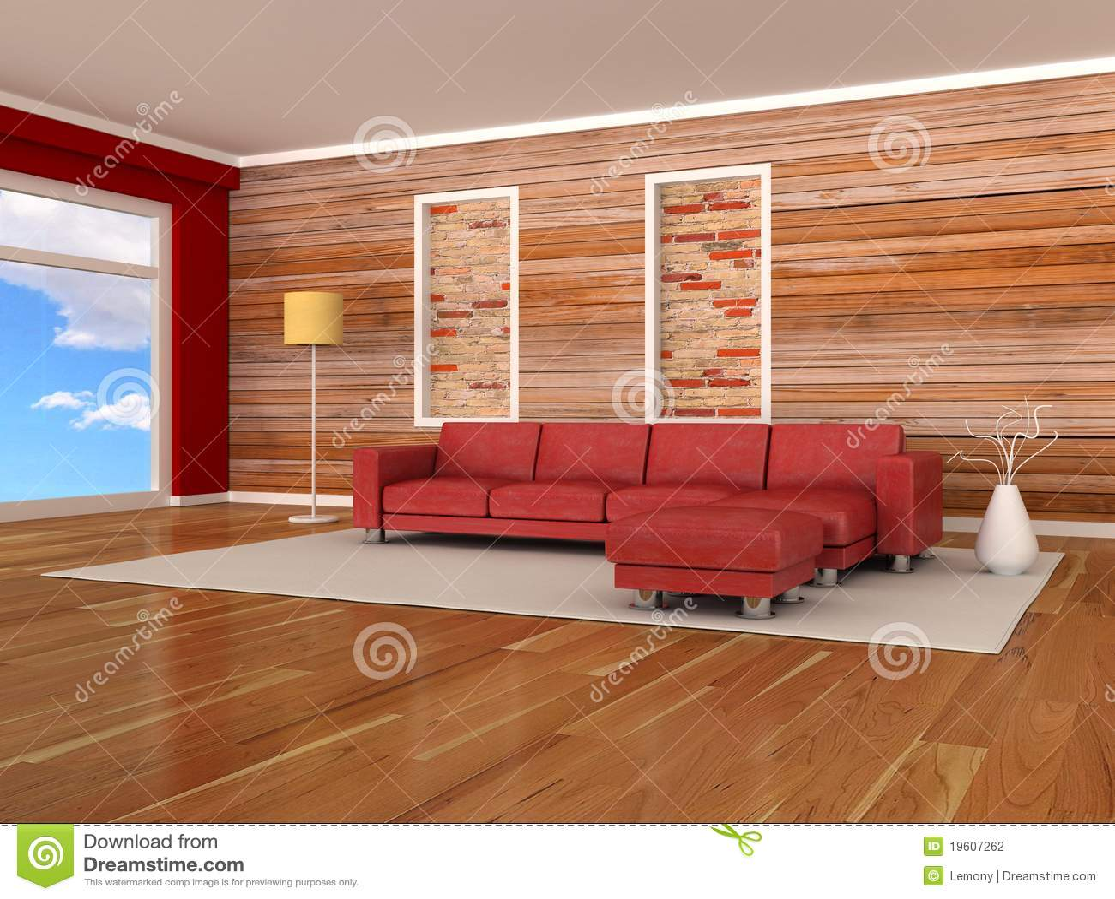 Binnenland van de moderne ruimte, houten muur, rode bank stock ...