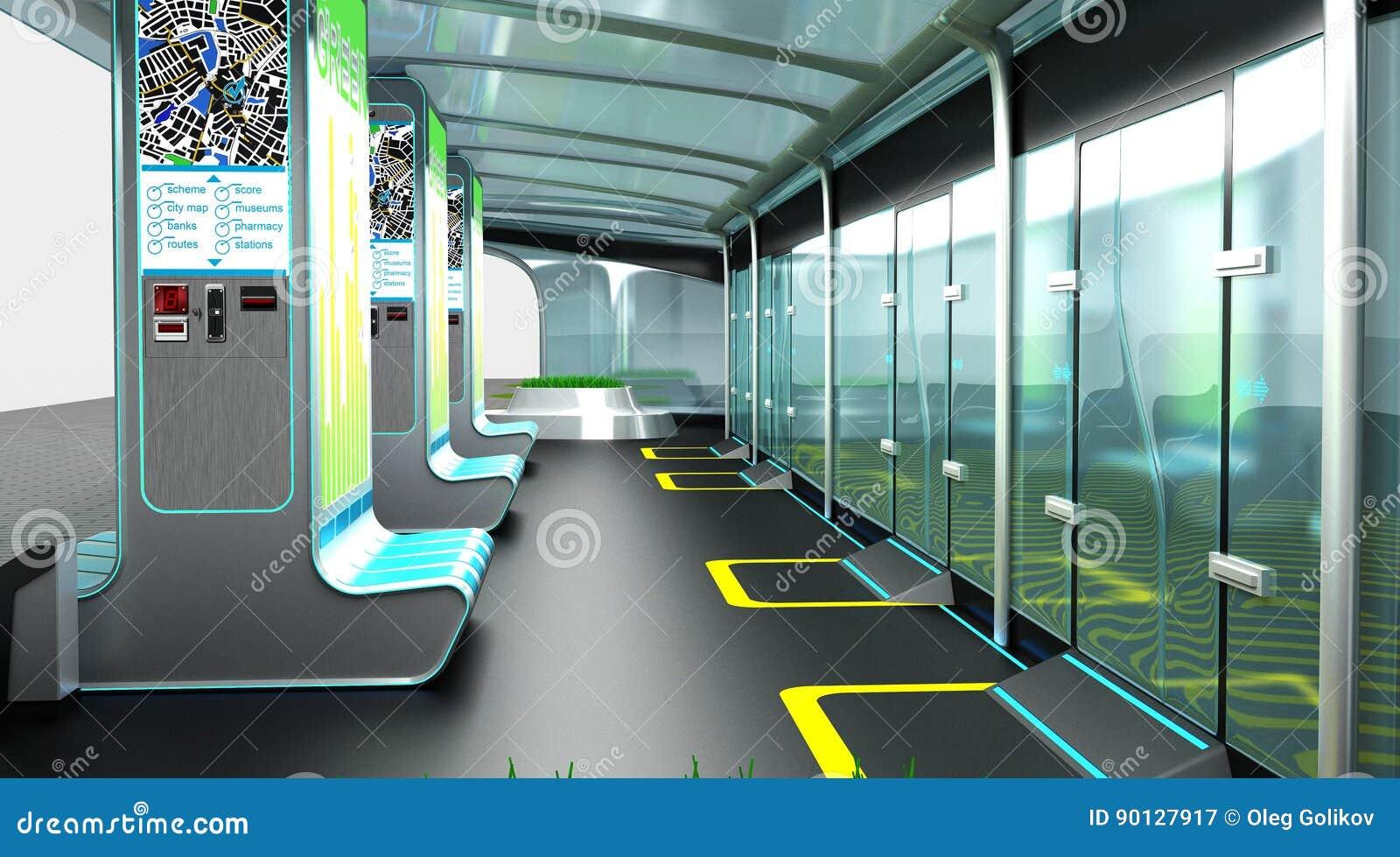 Binnenland van de moderne ruimte van ophouden complex voor openbaar vervoer Het Concept van het ontwerp 3D Illustratie