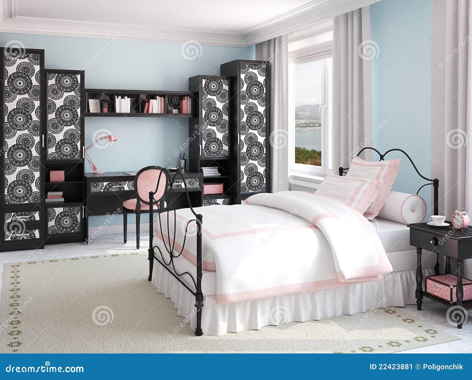 Binnenland van de slaapkamer van het meisje stock illustratie