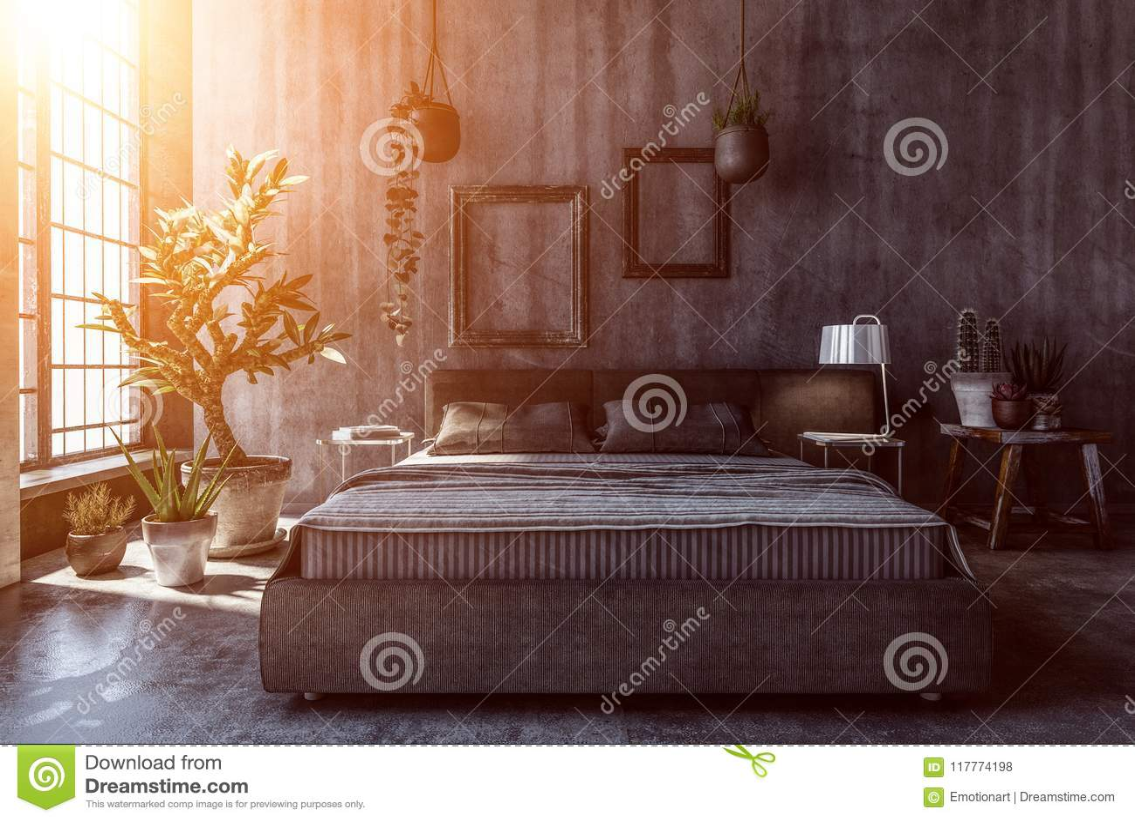 binnenland van donkere slaapkamer met grijze muren