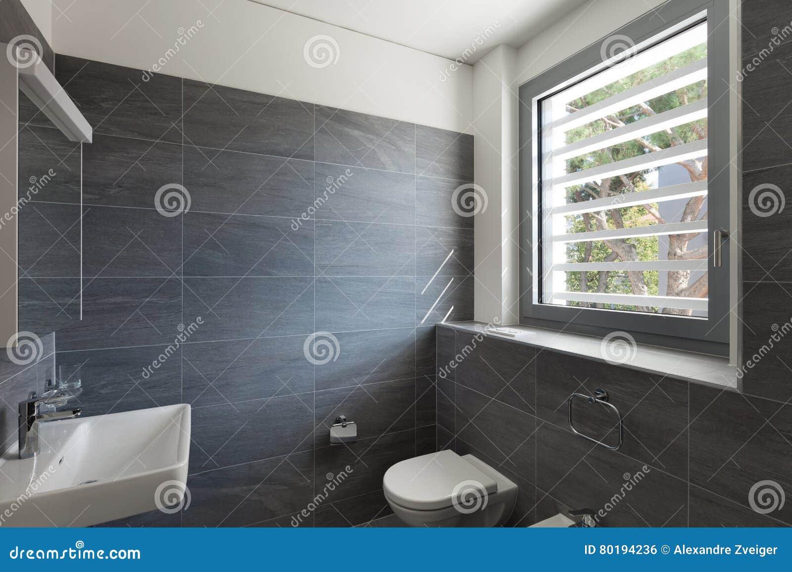Binnenland van een modern huis grijze badkamers stock foto