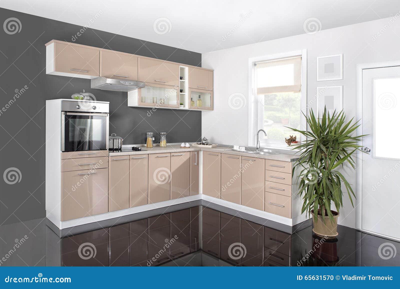 Binnenland van een moderne keuken houten meubilair eenvoudig en schoon stock foto afbeelding - Meubilair outdoor houten keuken ...